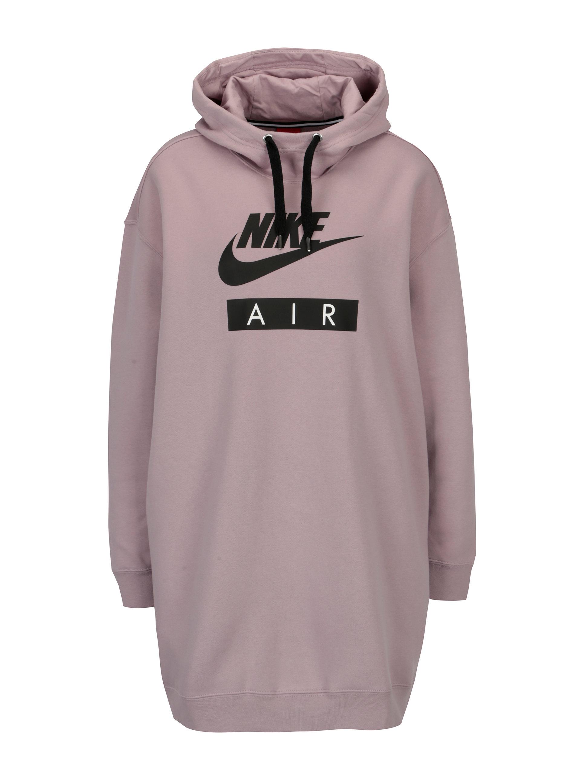 Světle fialová dámská dlouhá mikina s kapucí Nike ... 9dbe495666a