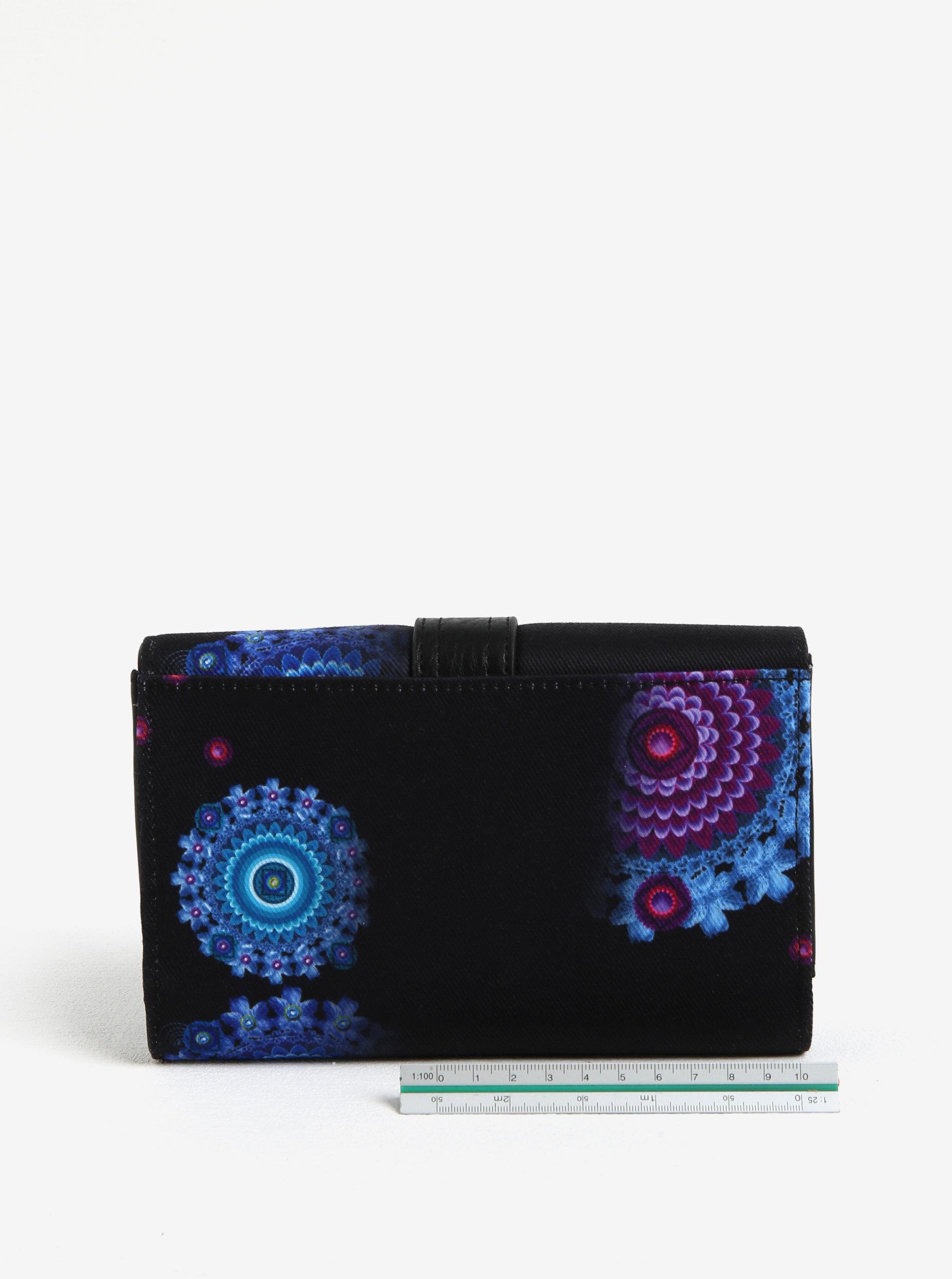 1acf75e354 Čierna veľká peňaženka s ornamentmi Desigual Bollywood Lengüeta ...