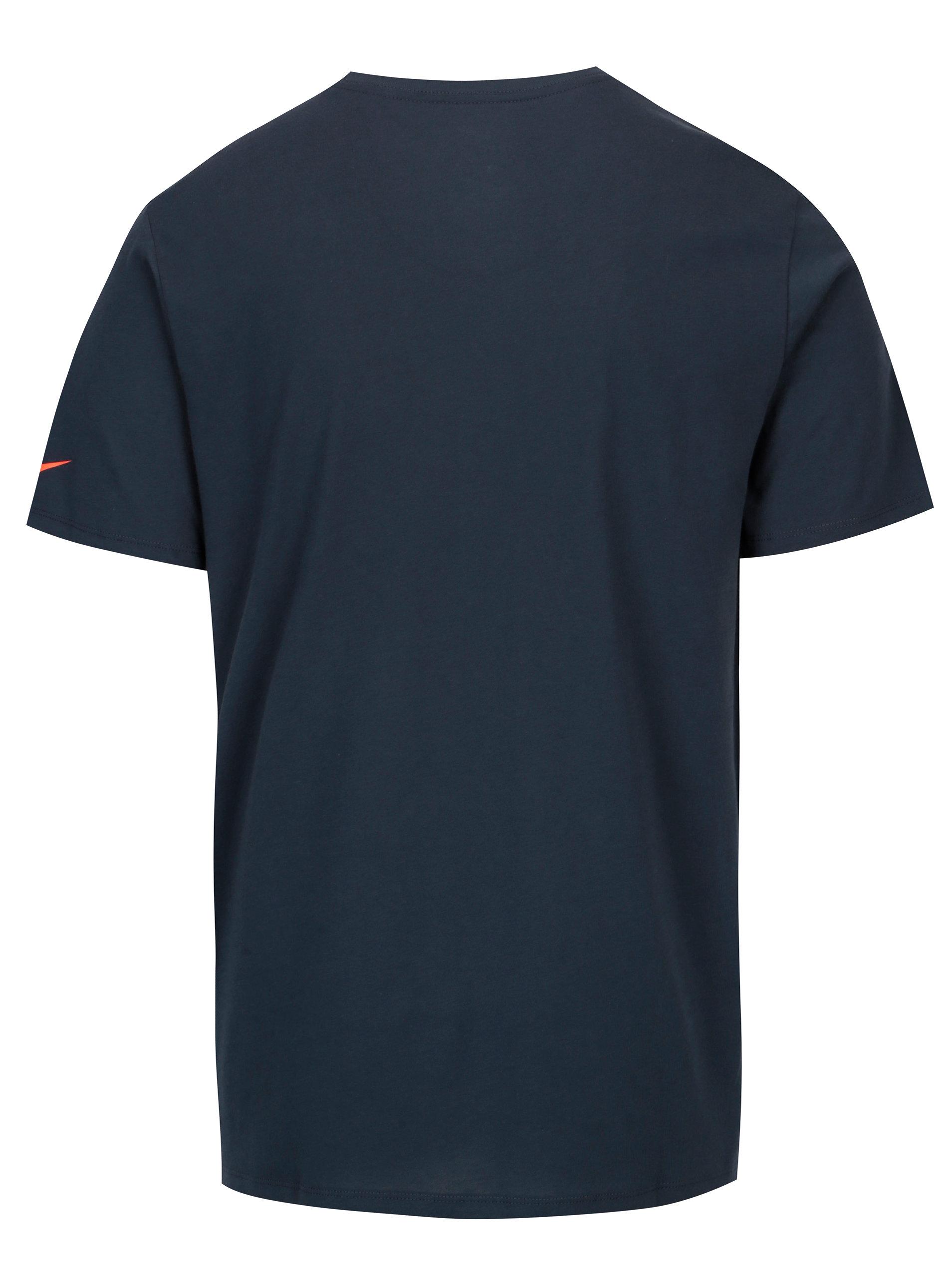 6cb3f16e2b4b Tmavomodré pánske funkčné tričko s neónovou potlačou Nike ...