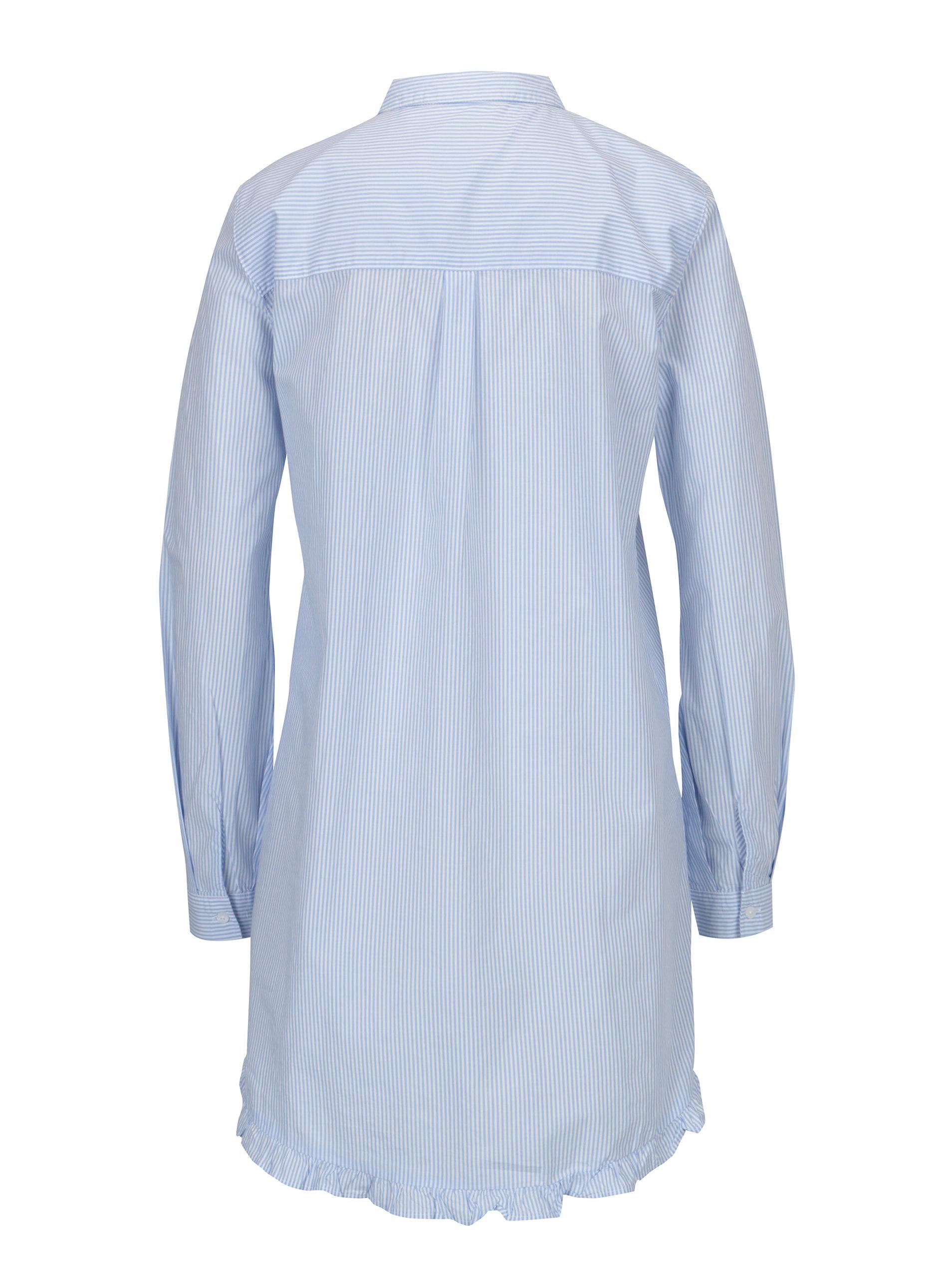 5f261923af1d Bielo-modrá dlhá pruhovaná áčková košeľa ONLY Monique ...