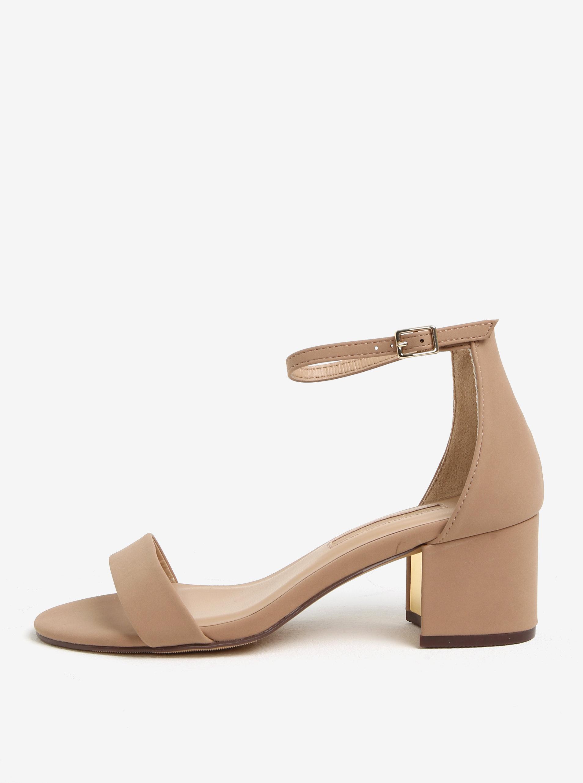 Béžové sandále na podpätku Dorothy Perkins ... 58927fcf0e