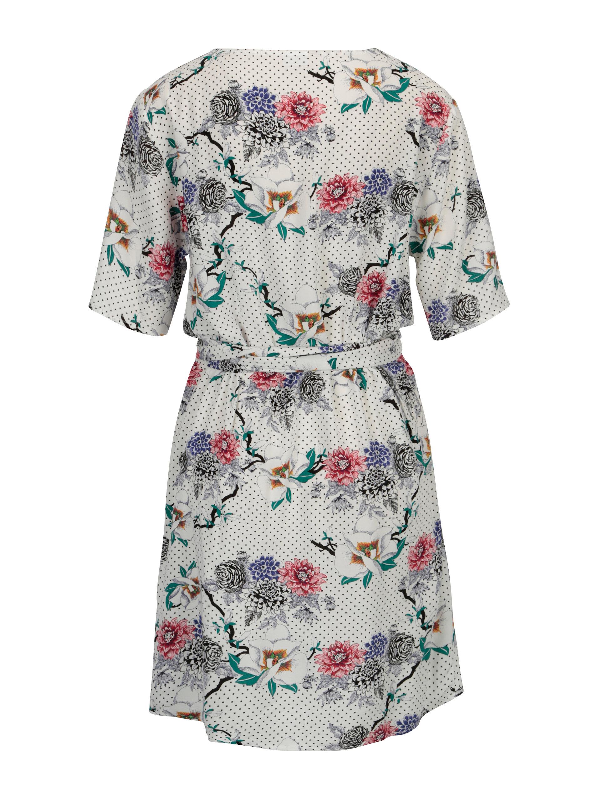 a26d0eacbb Biele kvetované šaty s véčkovým výstrihom Jacqueline de Yong Ann ...