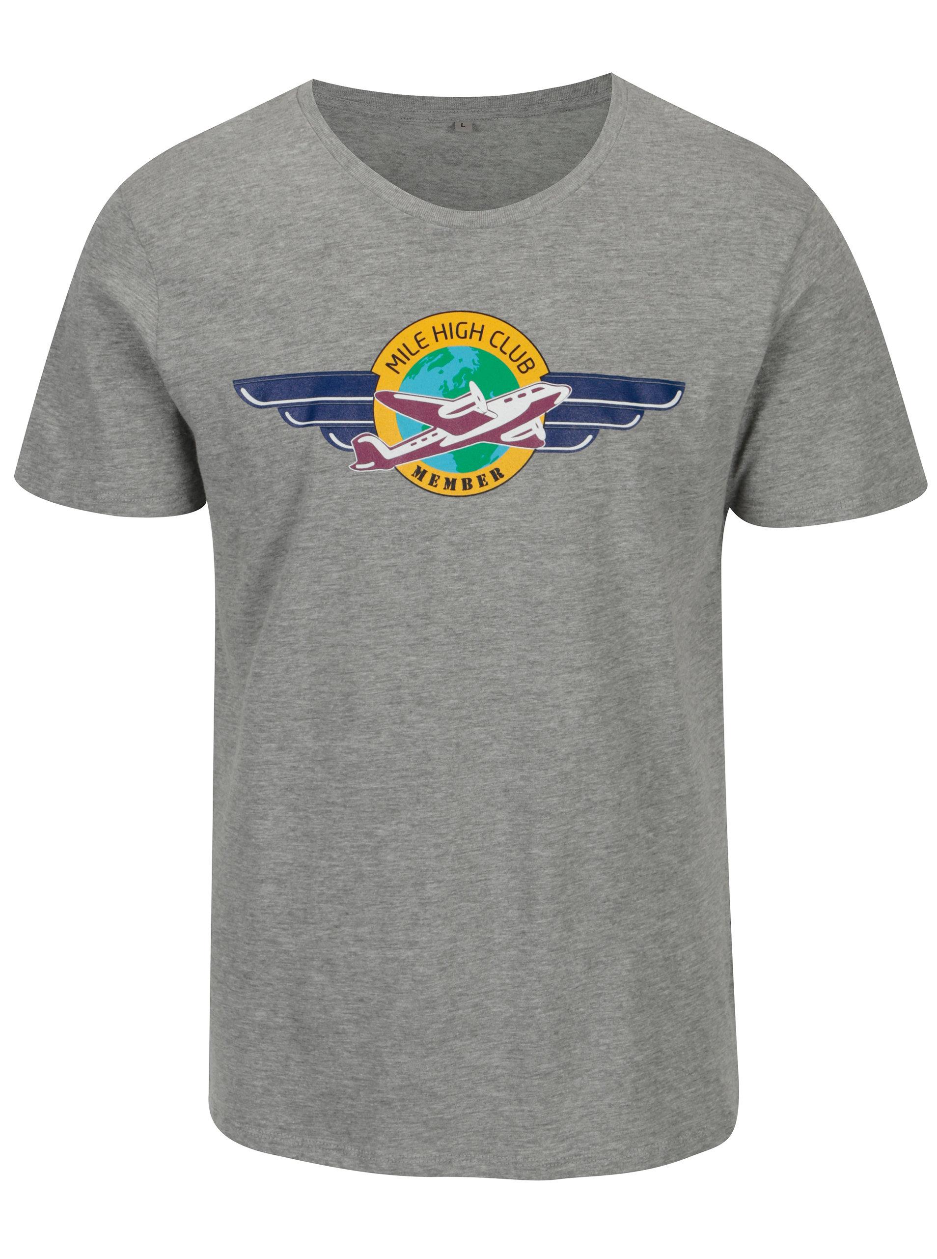 0357beeb7793 Sivé pánske melírované tričko s potlačou ZOOT Original MCH ...