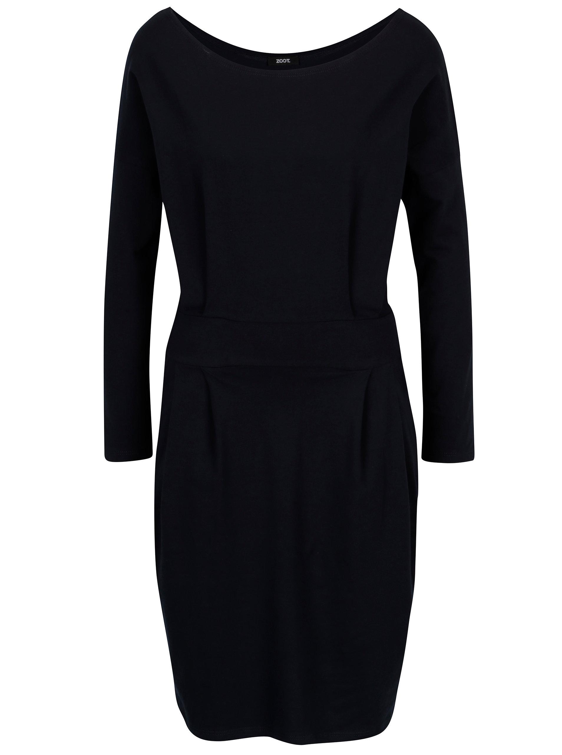 Tmavě modré pouzdrové šaty s kapsami a dlouhým rukávem ZOOT ... 58064097fa