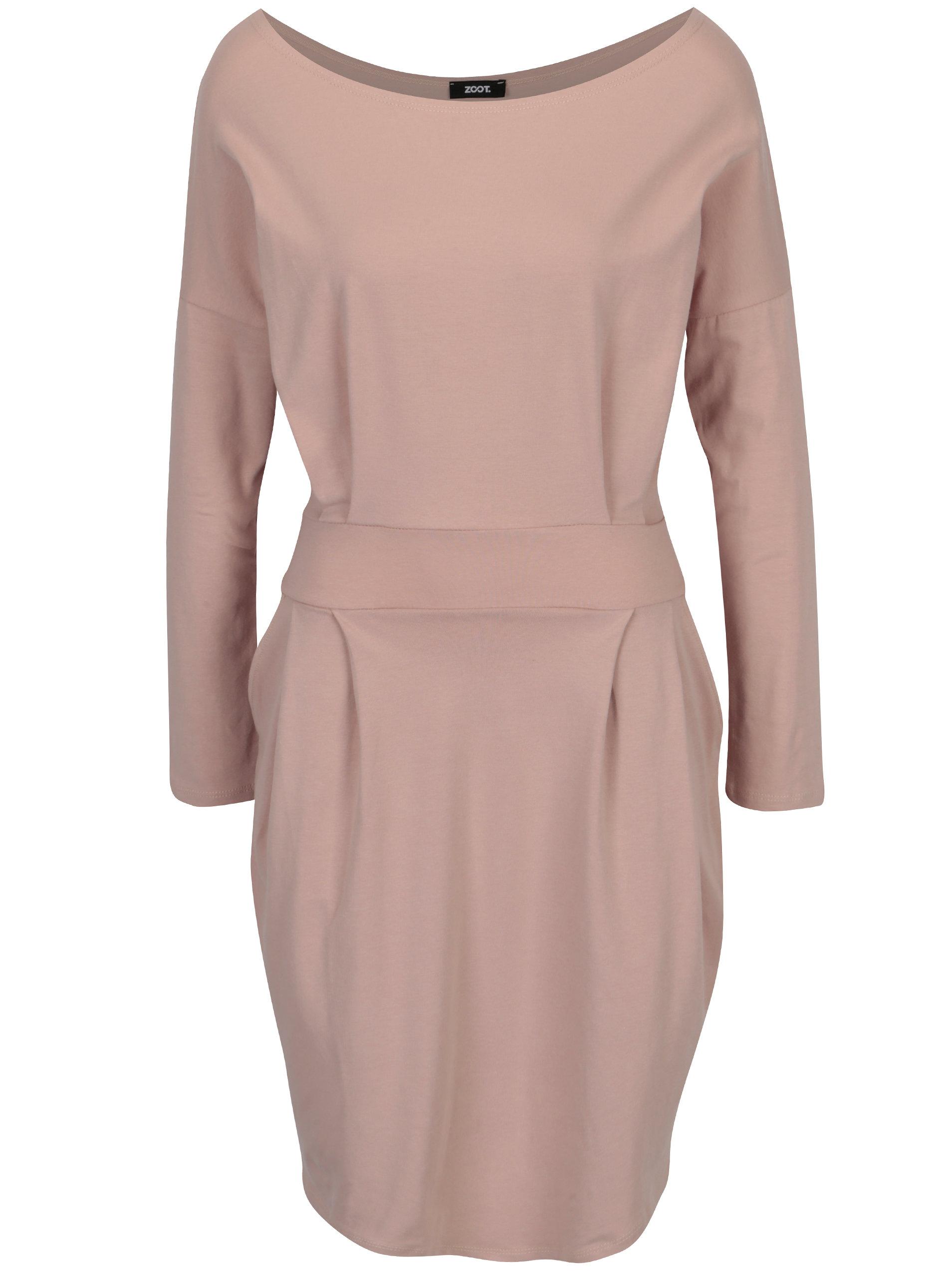 d38febd7c4c5 Světle růžové pouzdrové šaty s kapsami a dlouhým rukávem ZOOT ...
