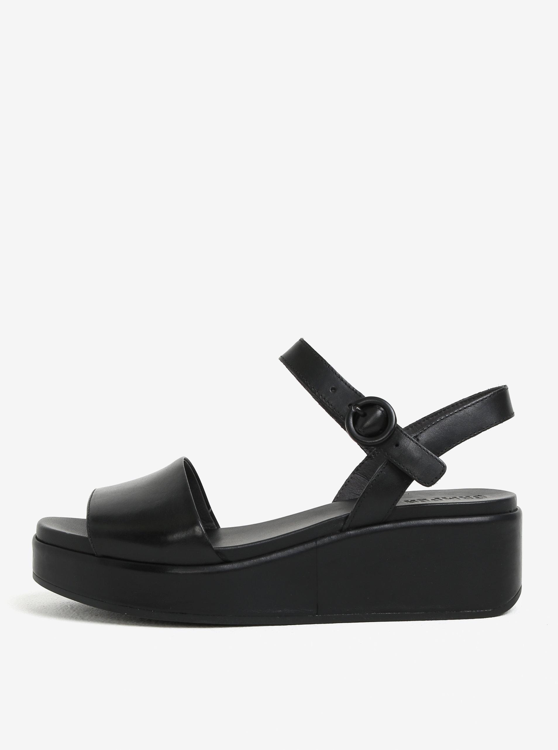 21dd54506a27 Čierne dámske kožené sandálky na platforme Camper Misia ...