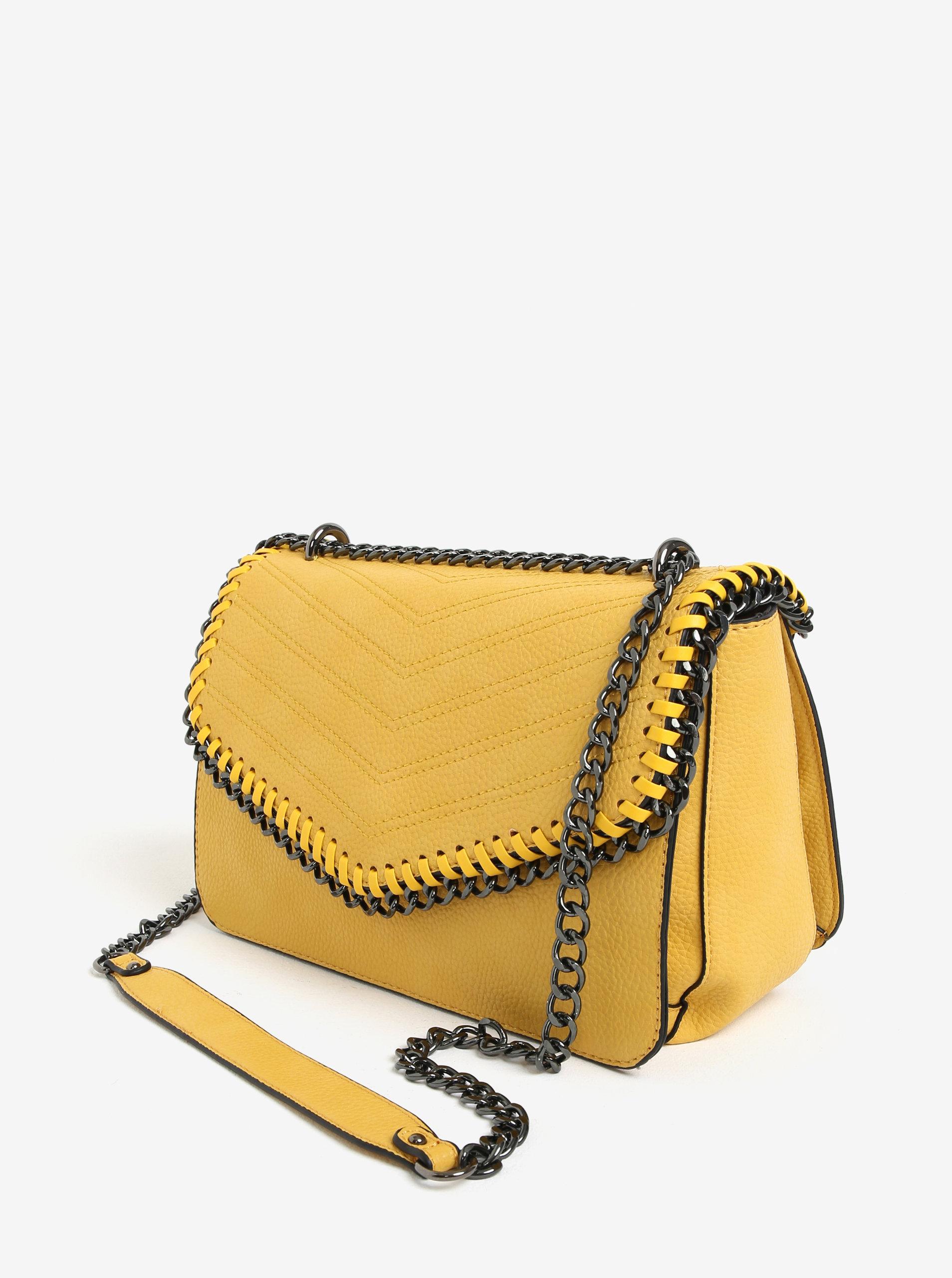 Žltá kabelka s retiazkou a kovovými detailmi LYDC ... 51bd3292a73