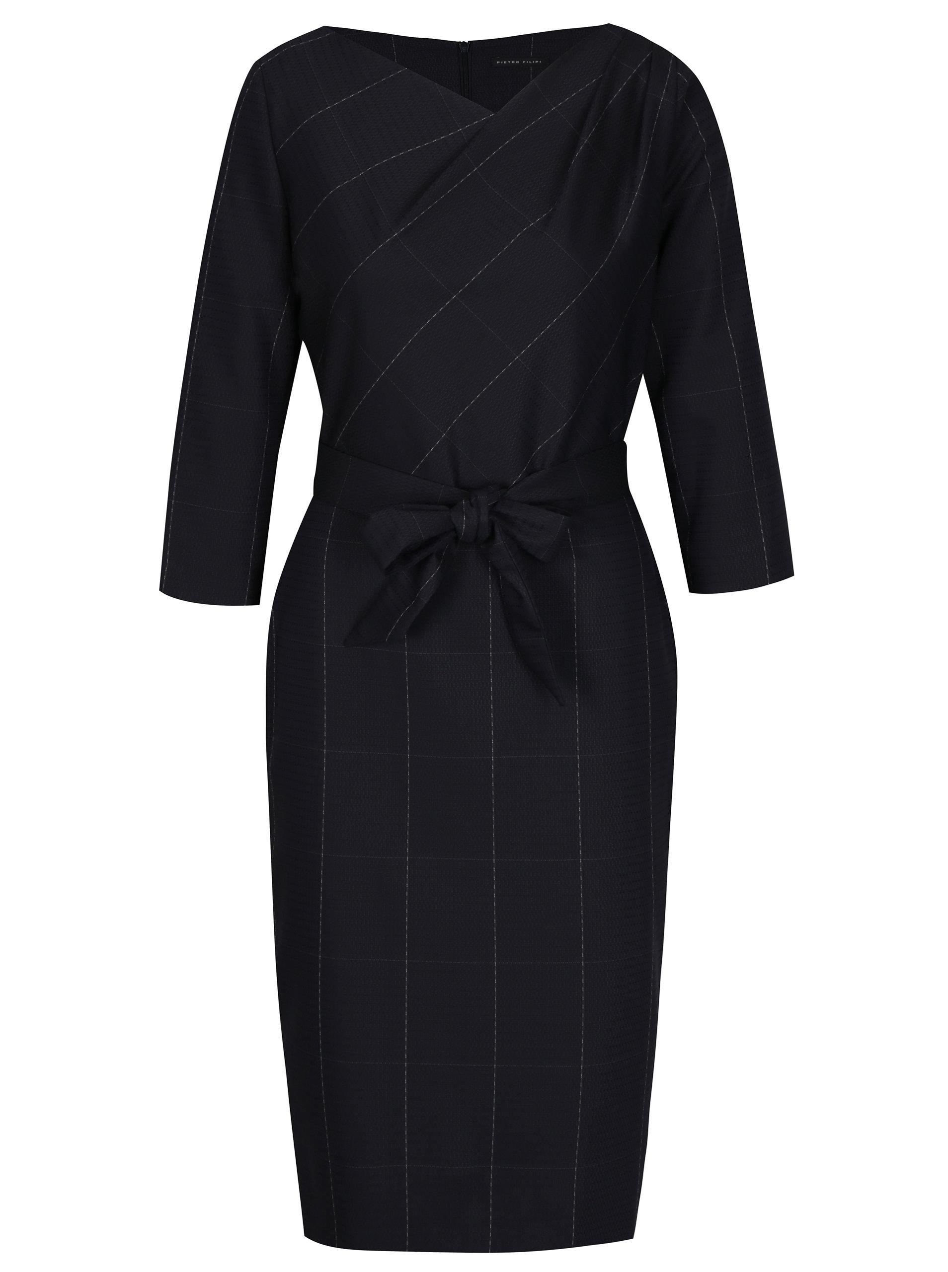 bbc814792a8e Tmavě modré dámské šaty s 3 4 rukávem Pietro Filipi ...