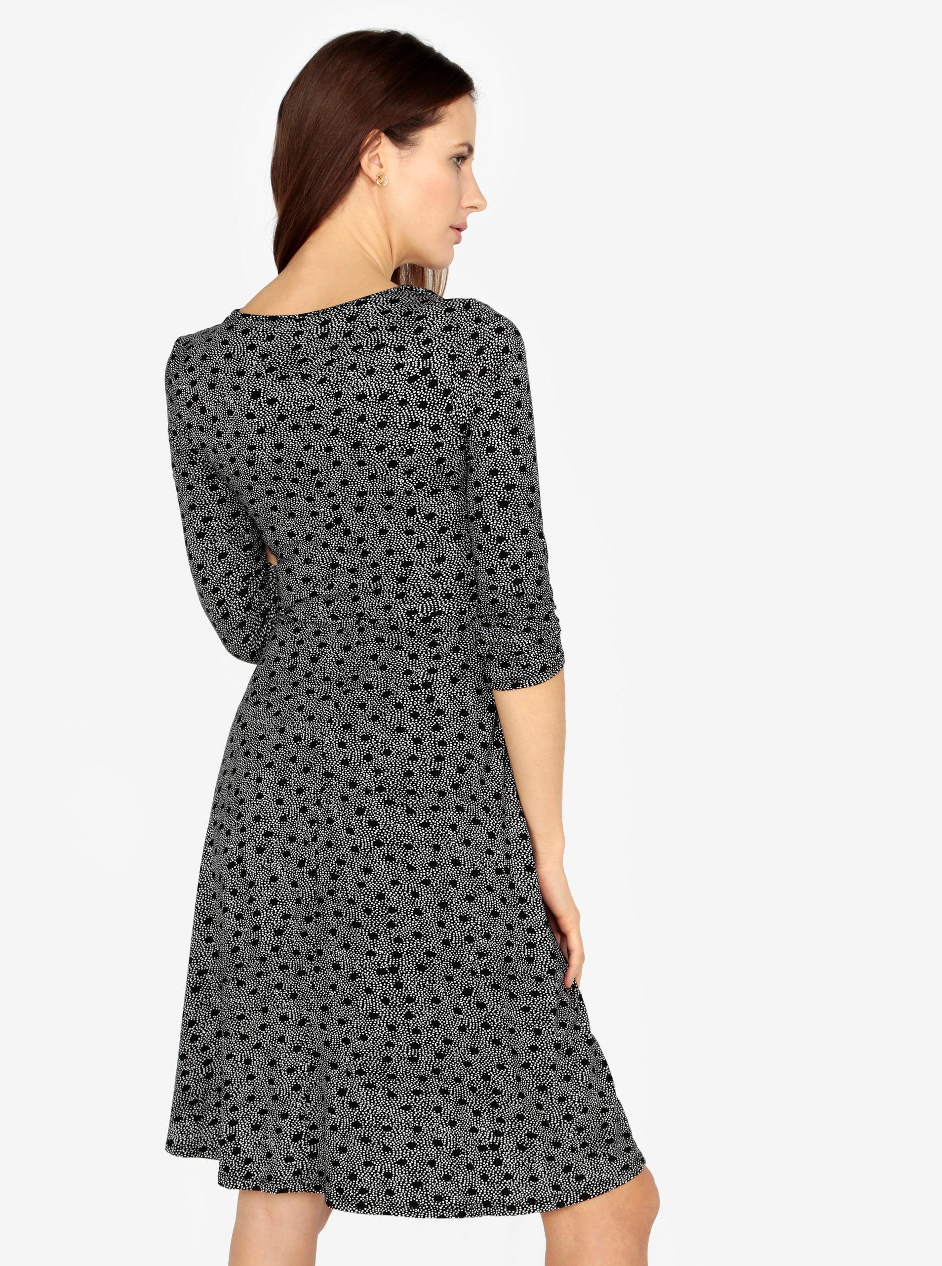 33bd1829f1b1 Bielo-čierne bodkované šaty s prekladaným výstrihom M Co ...