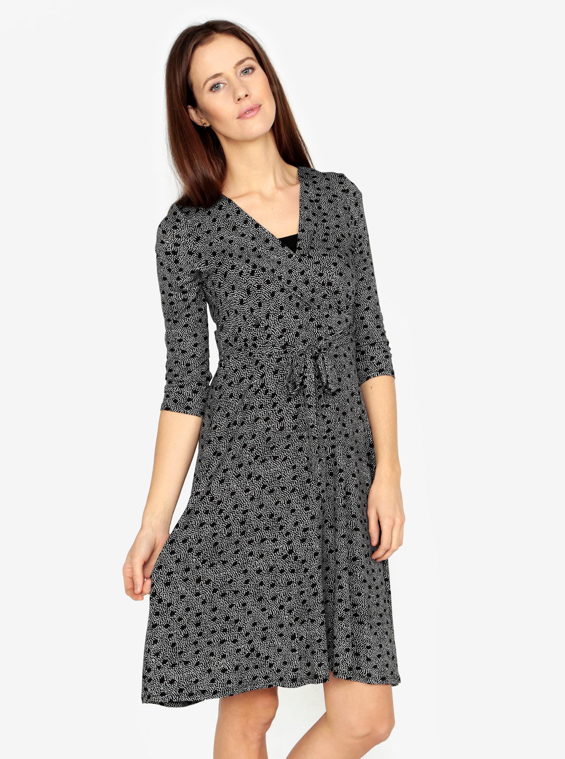 0a92e4a39464 Bielo-čierne bodkované šaty s prekladaným výstrihom M Co ...