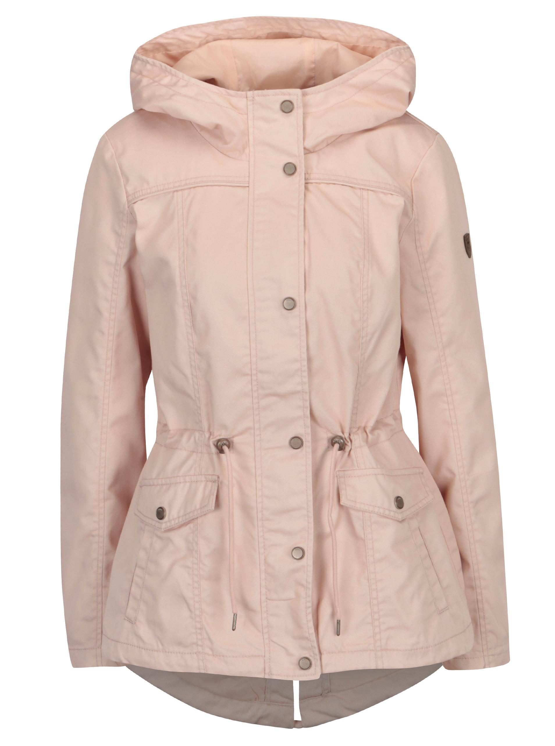 04963193e00c Světle růžová krátká parka s kapucí ONLY New Kate ...