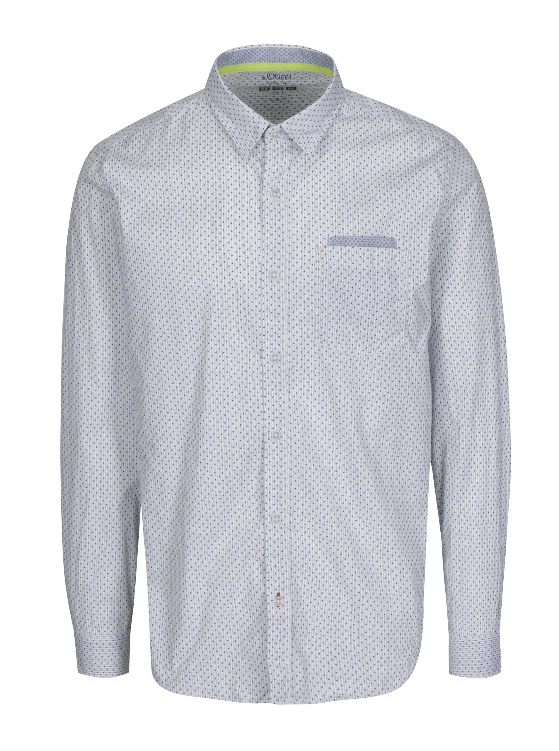 Bílá pánská vzorovaná slim fit košile s náprsní kapsou s.Oliver b608efe668