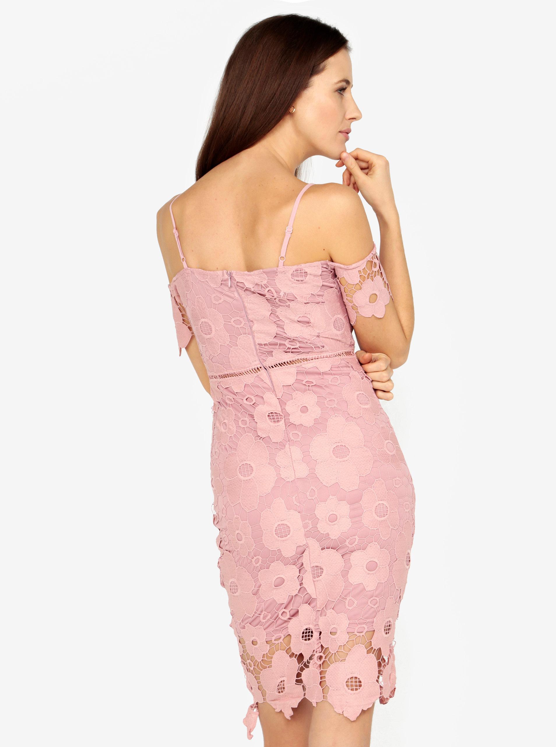 f3a1cff2abc1 Ružové čipkované puzdrové šaty MISSGUIDED ...