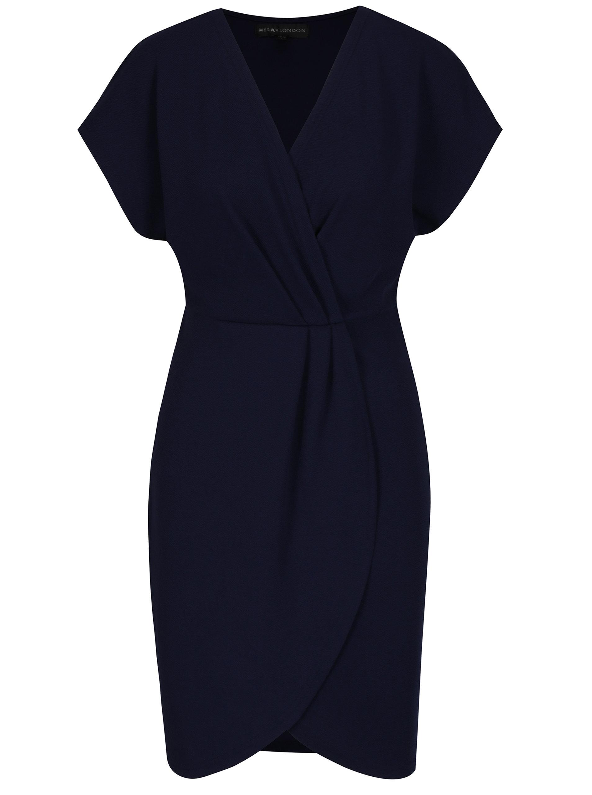 a3bf88b8030d Tmavomodré rovné šaty s prekladaným topom a sukňou Mela London ...