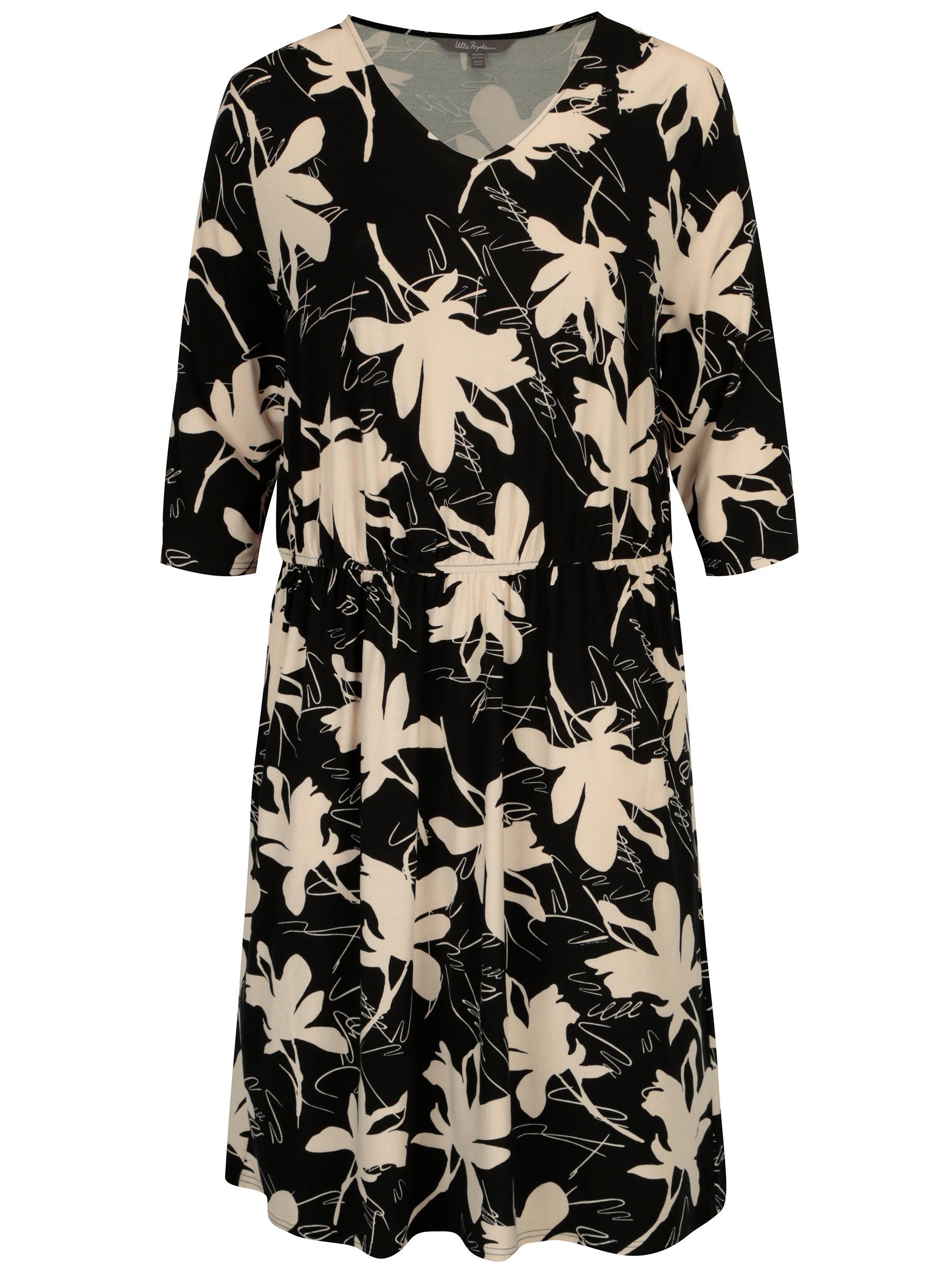 5e5a5869bb88 Černé květované šaty s 3 4 rukávem Ulla Popken ...