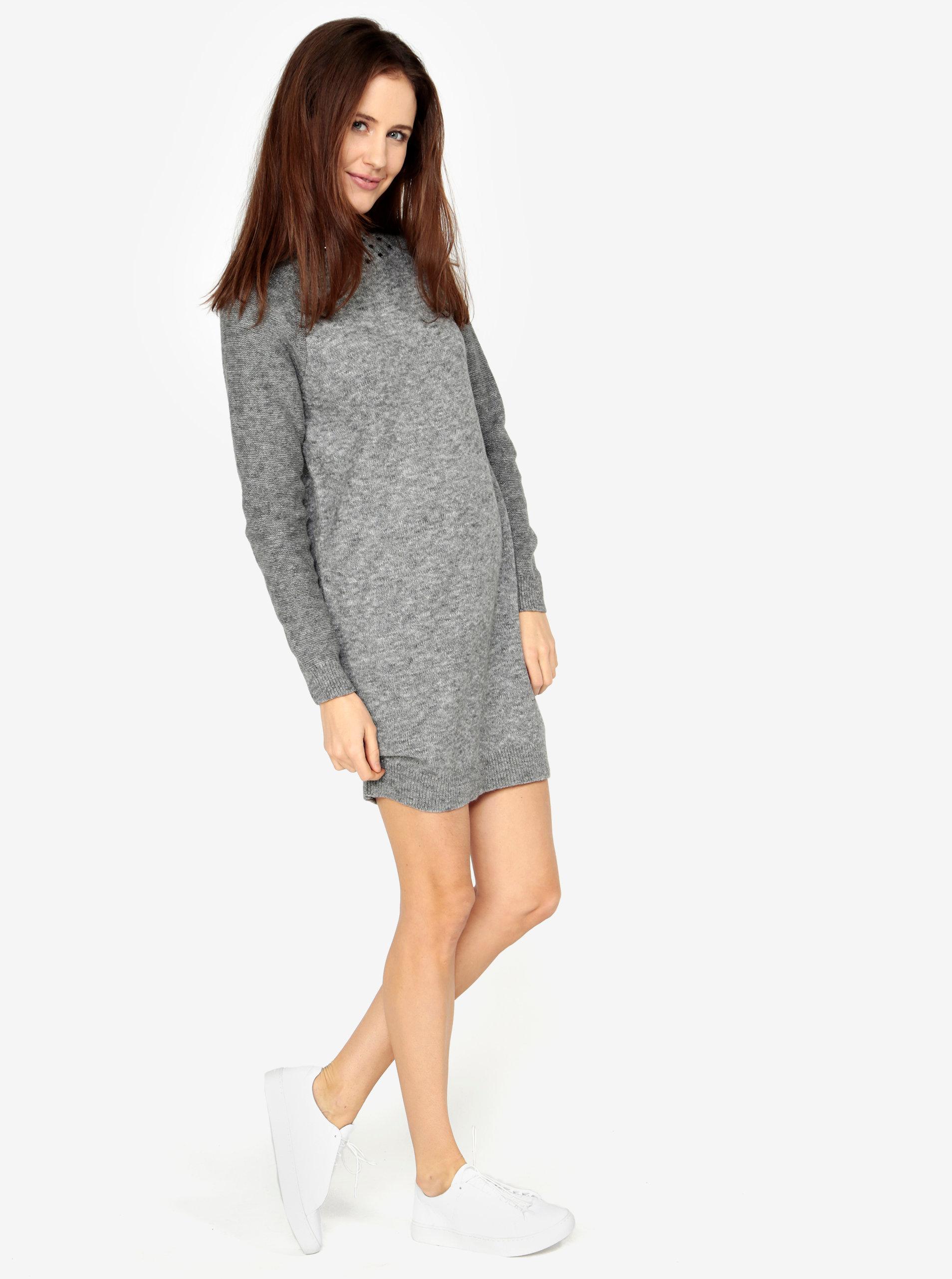 532aa69713bb Sivé melírované svetrové šaty s dlhým rukávom s.Oliver