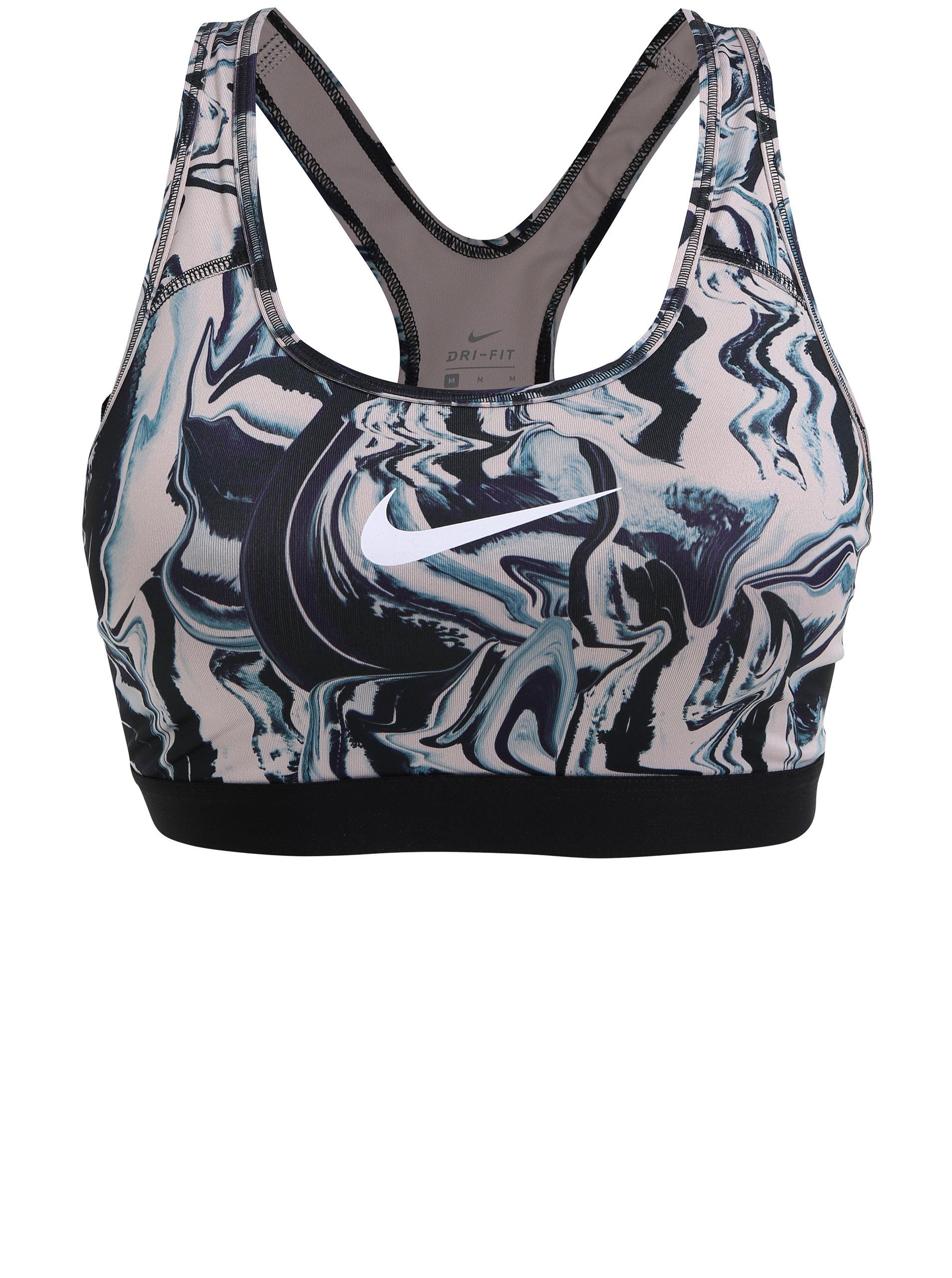 Starorůžovo-černá vzorovaná sportovní podprsenka Nike Classic Painted  Marble ... 7991ed6352