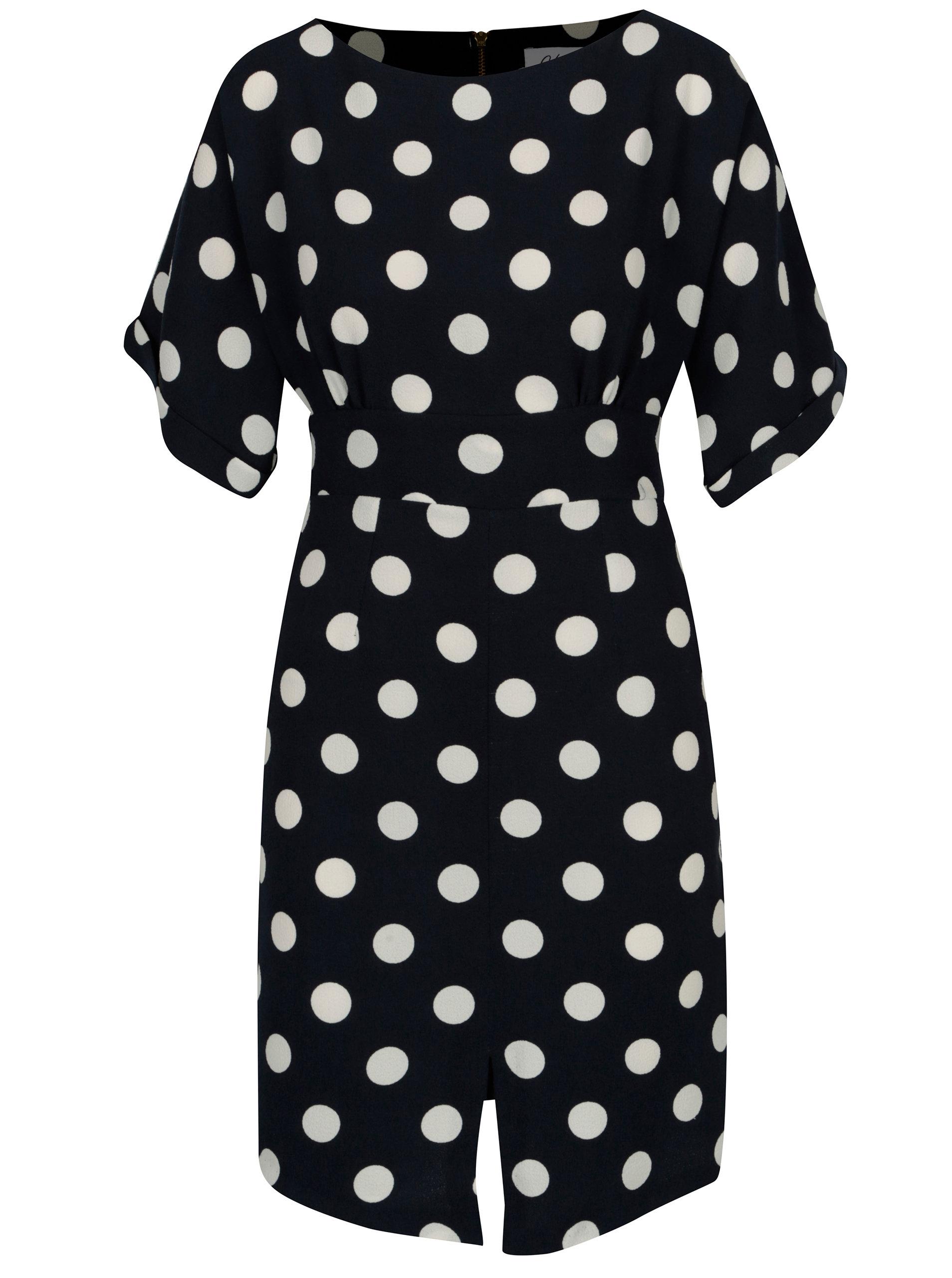 926b43d2cb59 Tmavomodré bodkované šaty s opaskom Closet ...