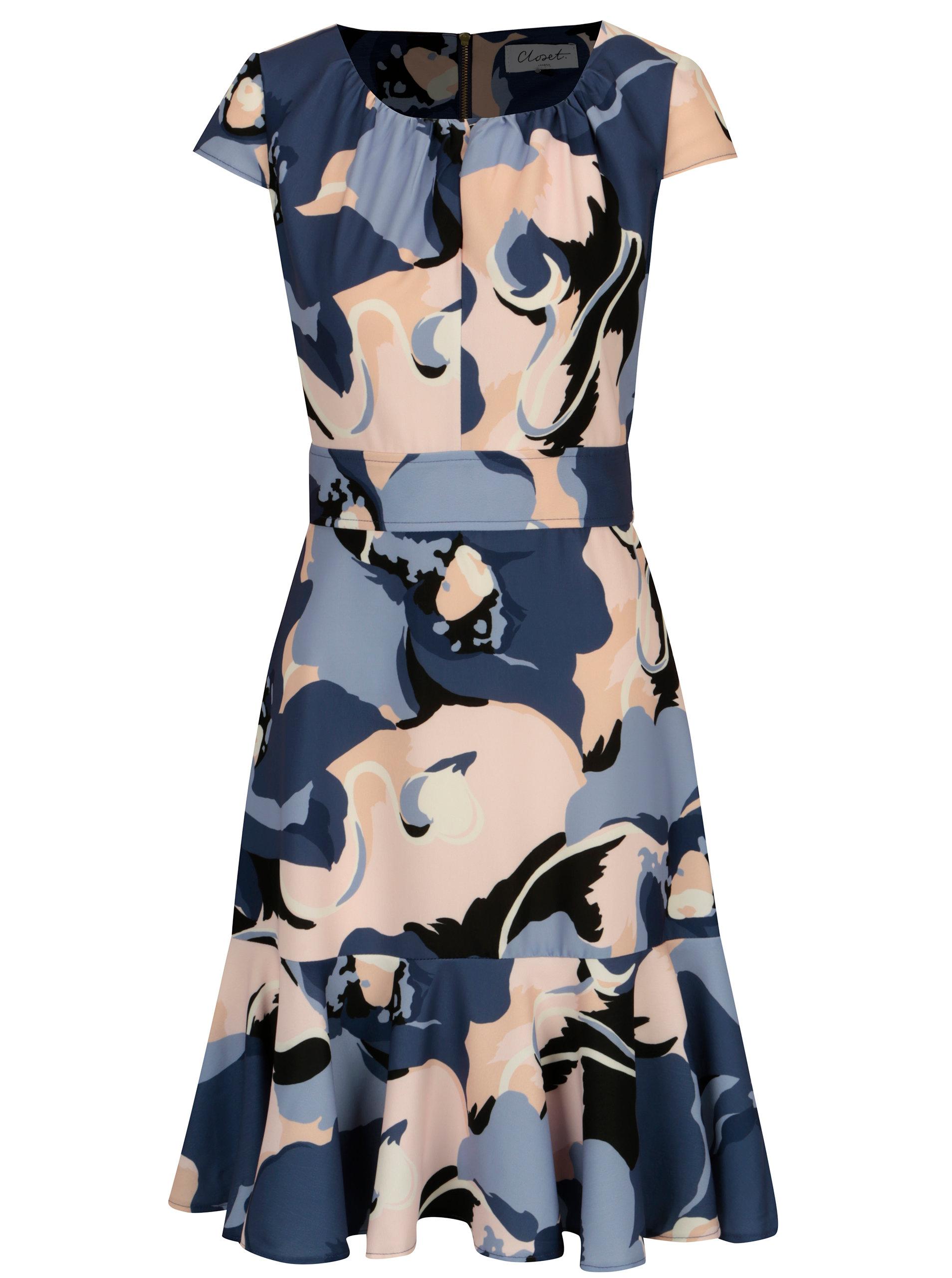 5bceba2d8095 Modré vzorované šaty s volánom Closet ...