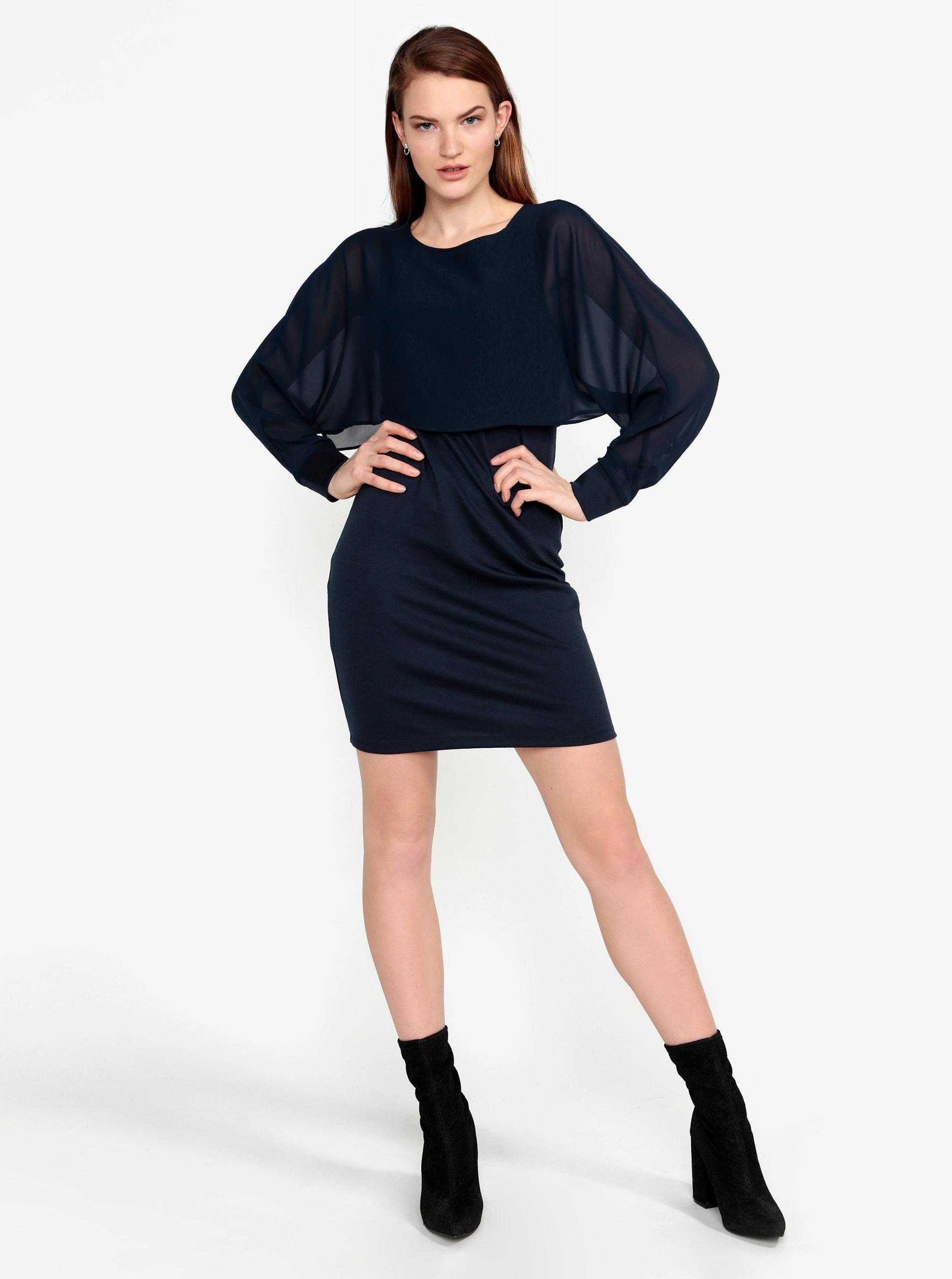 c7316a677 Tmavomodré šaty s priesvitným rukávom VERO MODA Ewa   ZOOT.sk