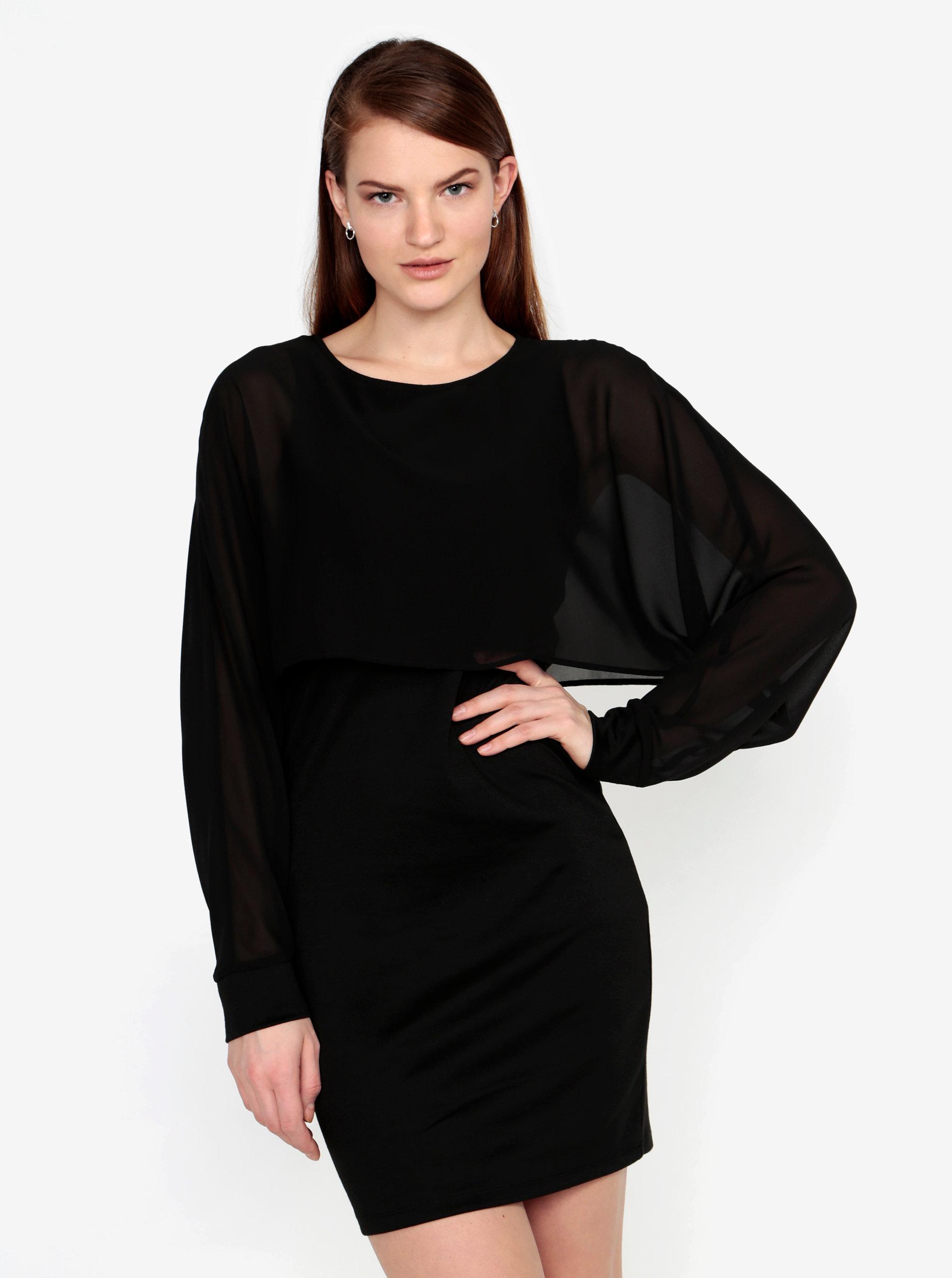 8b10a6b69df8 Černé šaty s průsvitným rukávem VERO MODA Ewa ...
