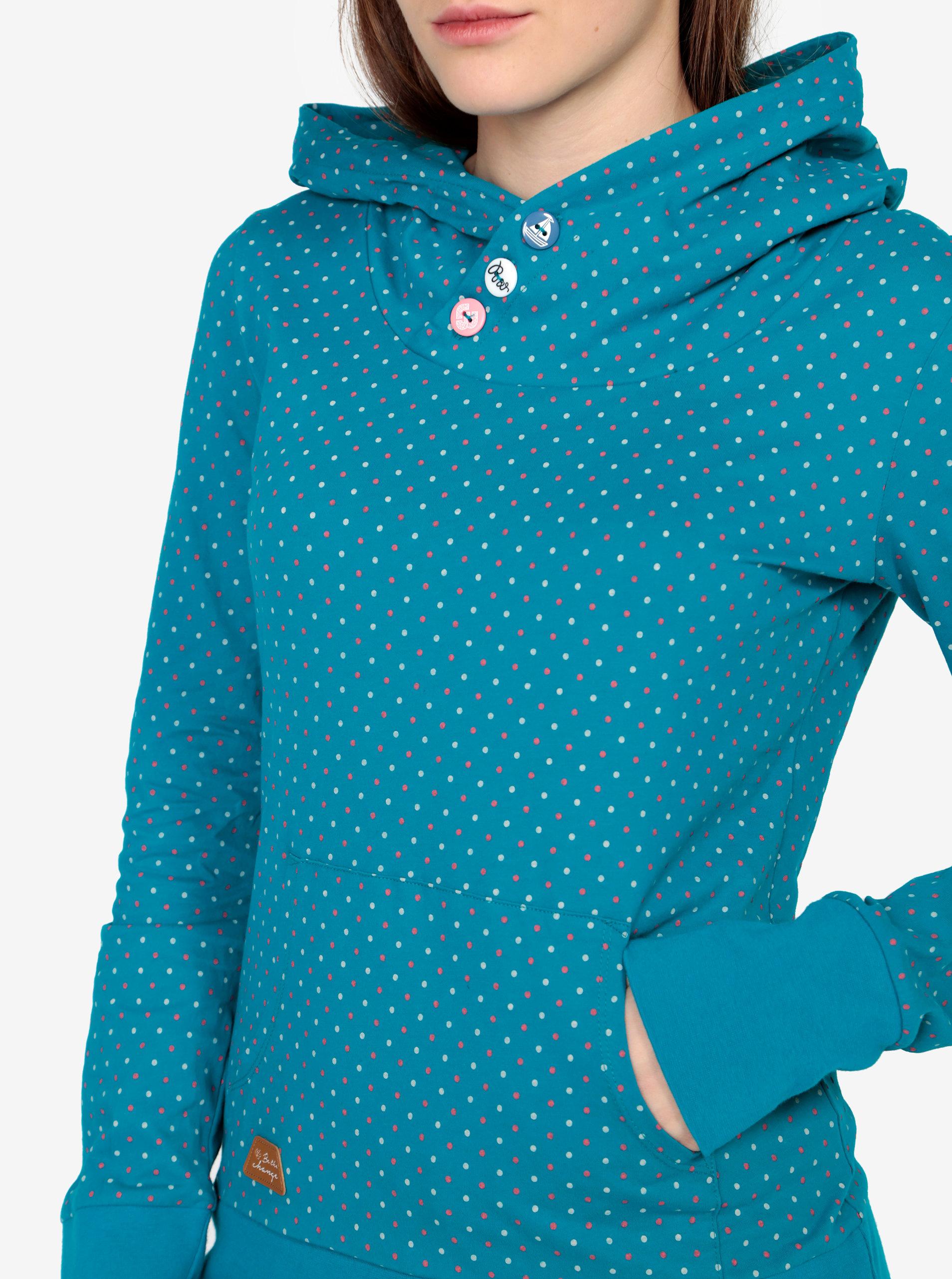 Tyrkysová puntíkovaná mikina Ragwear Chelsea Dots ... 14fbe4f61e1