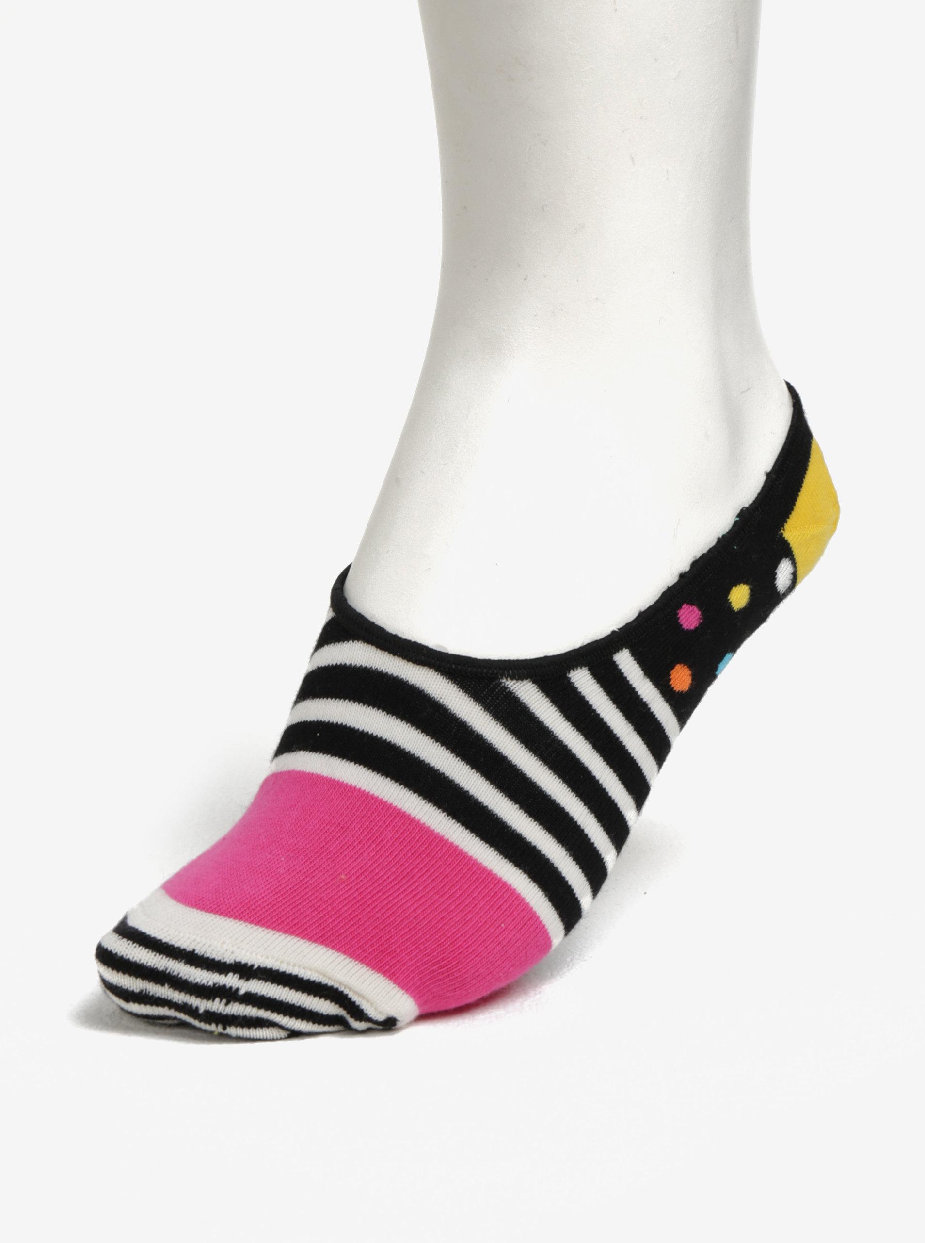 06bc9432c03 Černé dámské nízké ponožky Happy Socks Stripes Dots Liner ...