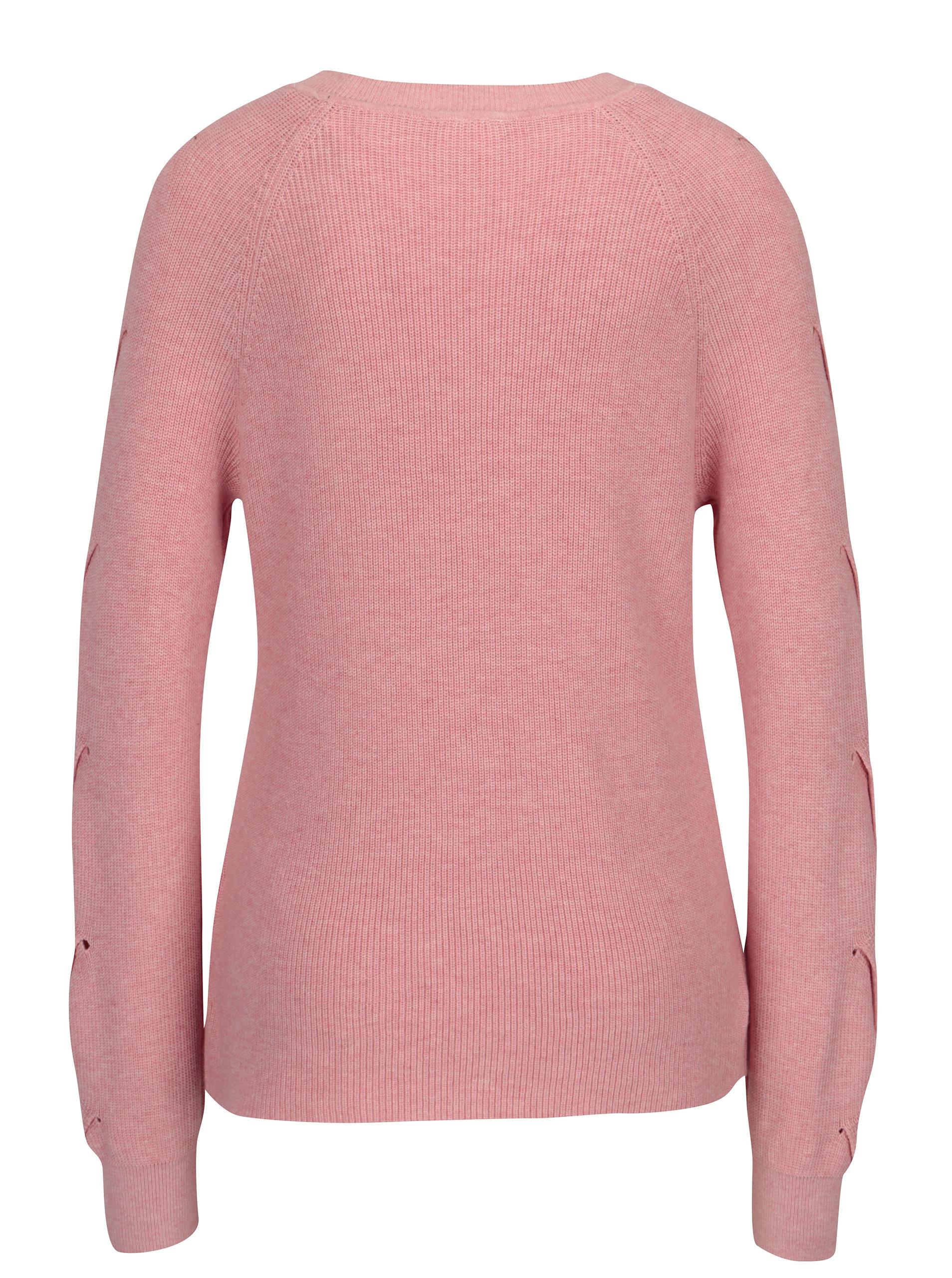 2a86d2a680c Růžový svetr s průstřihy na rukávech VILA Myntani ...