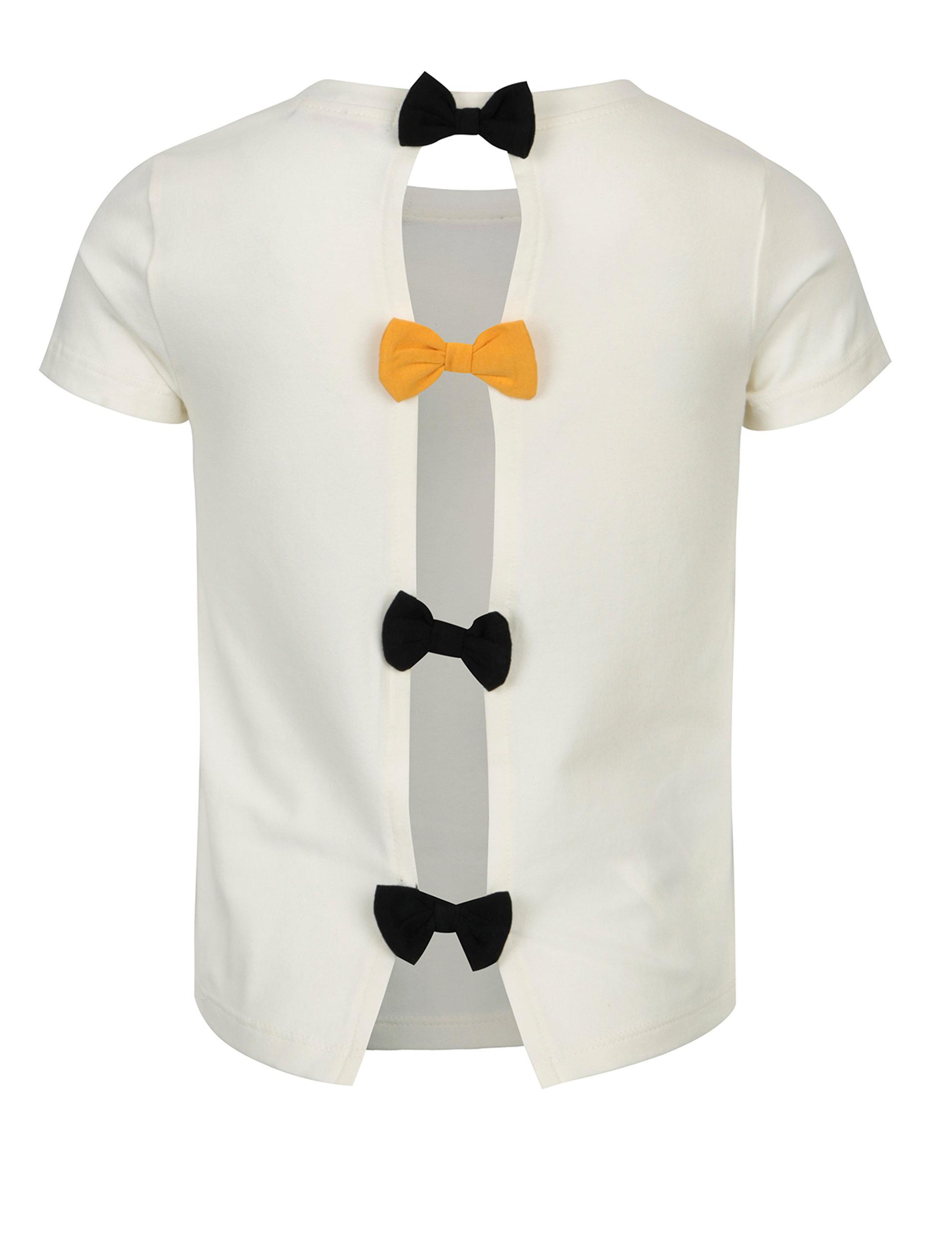 Krémové holčičí tričko s potiskem a mašlemi na zádech Bóboli - Akční ... e7c1c22434