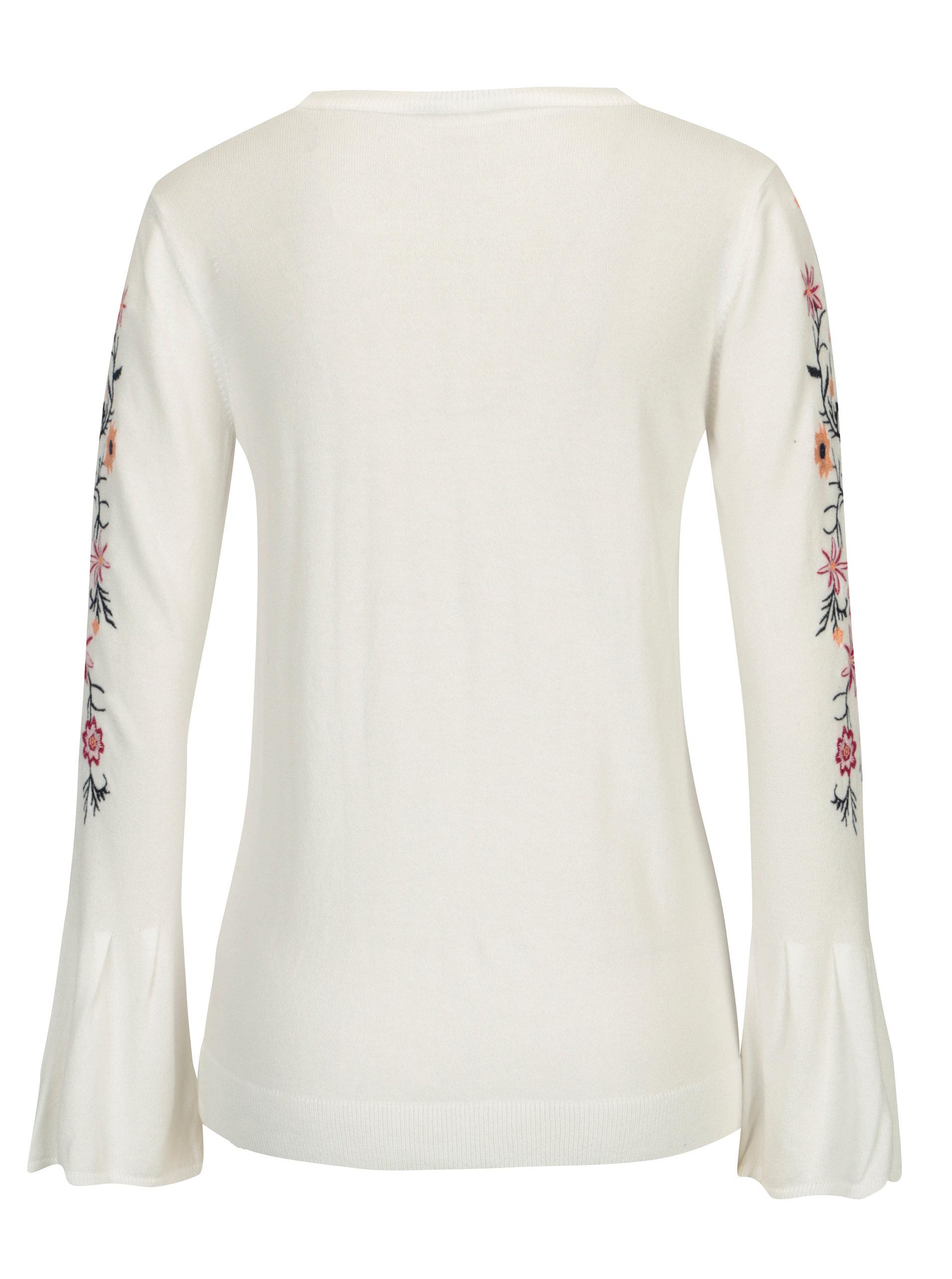 392fd1dfcf90 Biely sveter s kvetovanou výšivkou Dorothy Perkins ...