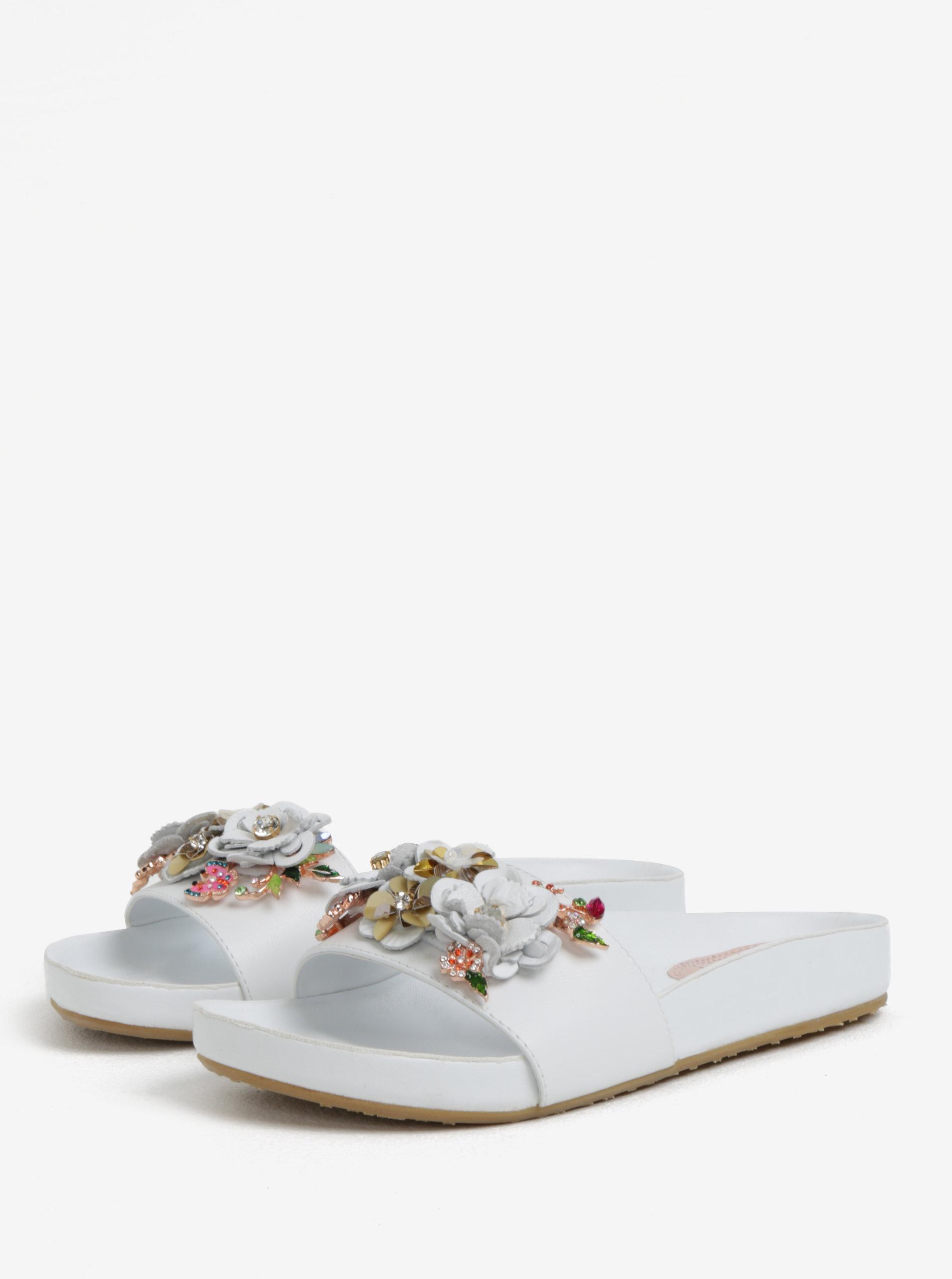 5554959b2f04 Biele dámske kožené šľapky s kvetinovou ozdobou Dune London Laelia ...