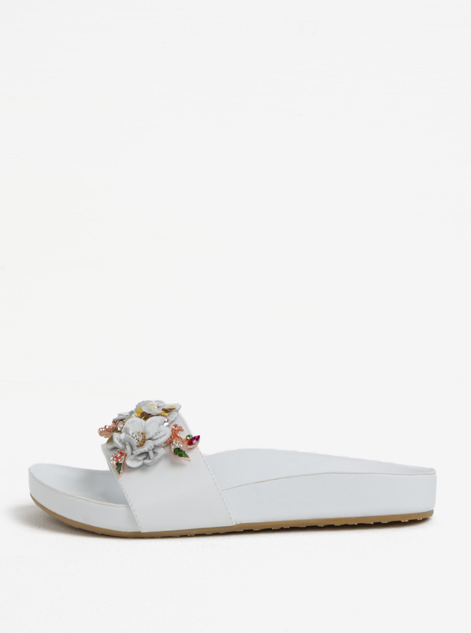 0bbf61402b Biele dámske kožené šľapky s kvetinovou ozdobou Dune London Laelia ...