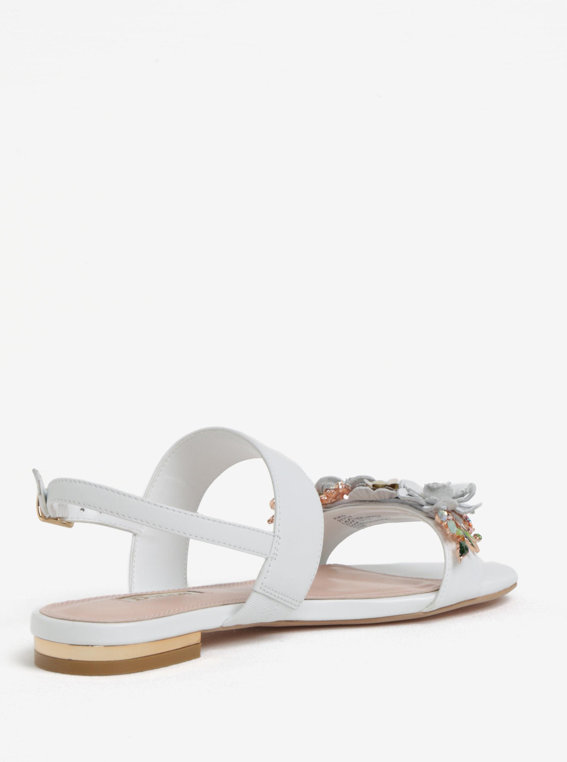 da29156ac795 Biele kožené sandáliky s kvetinovou ozdobou Dune London Kiko ...