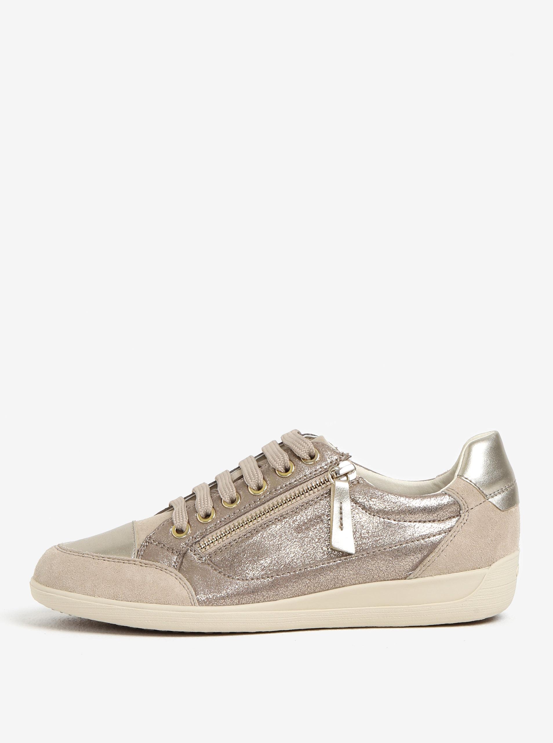 Dámské kožené tenisky ve stříbrné barvě Geox Myria ... 00eb6f15e5