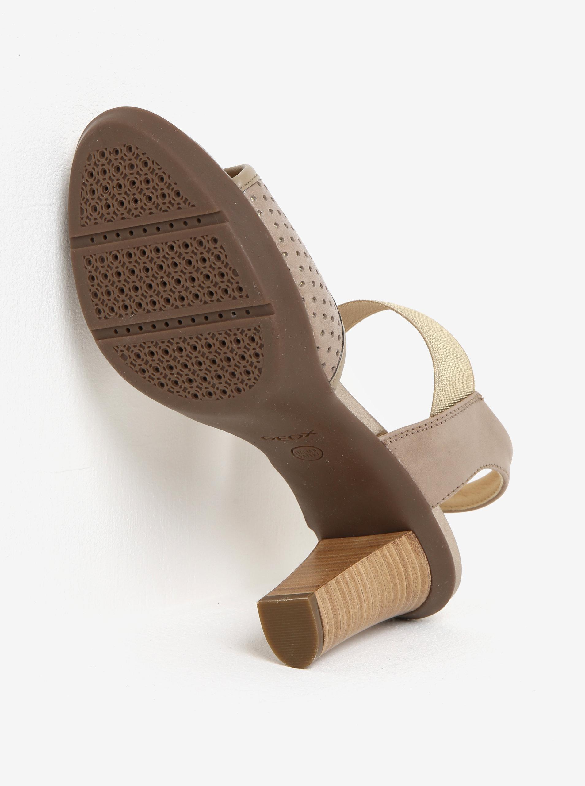 1b2fe2660591 Béžové dámske kožené sandále na podpätku Geox Jadalis ...
