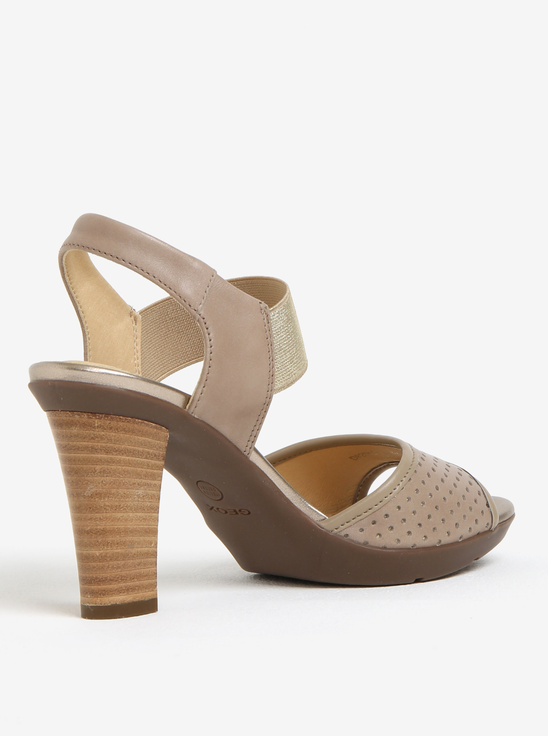 26496f81542e Béžové dámske kožené sandále na podpätku Geox Jadalis ...