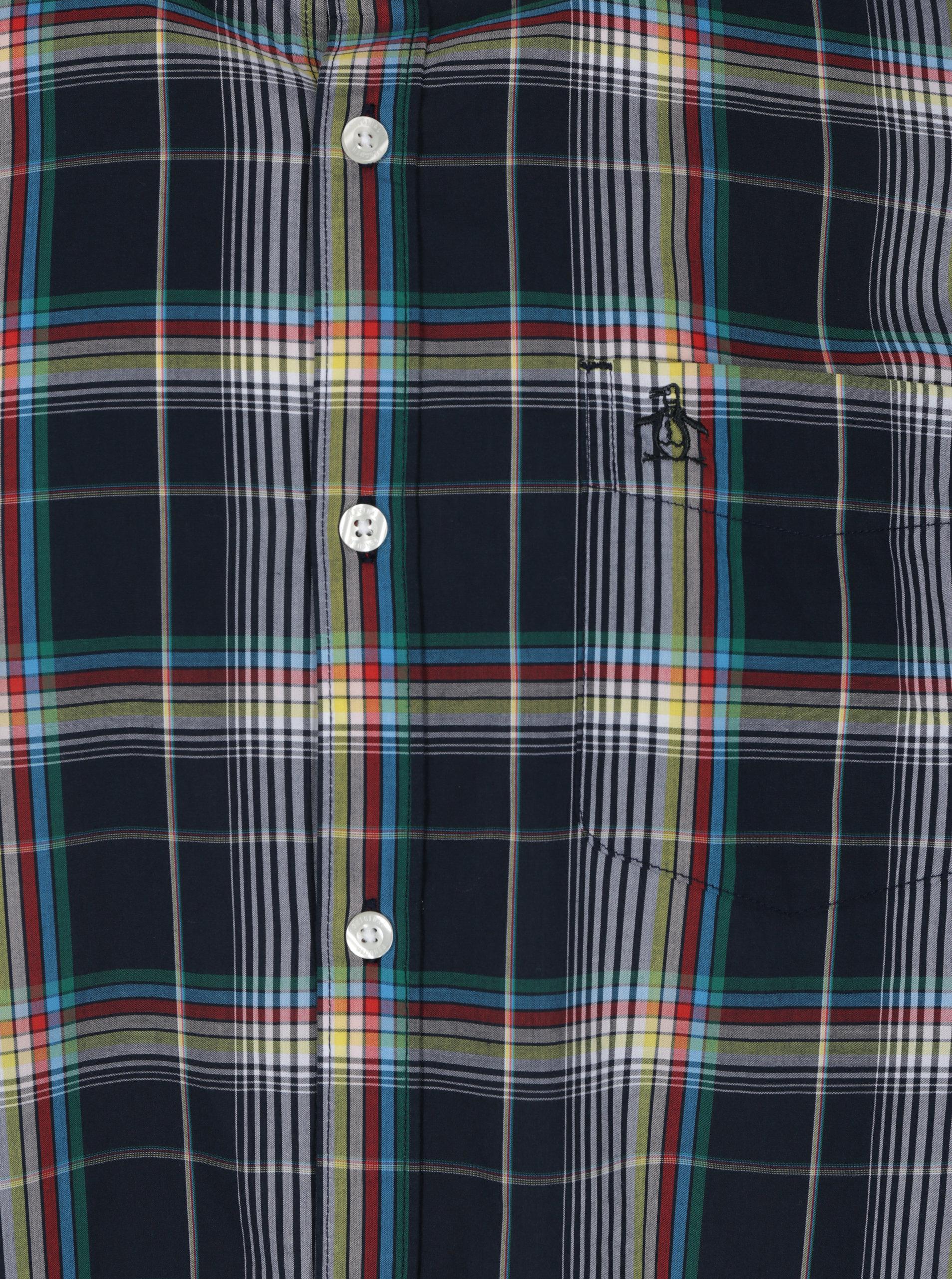 Modrá kostkovaná košile s náprsní kapsou Original Penguin Plaid ... 359289156c