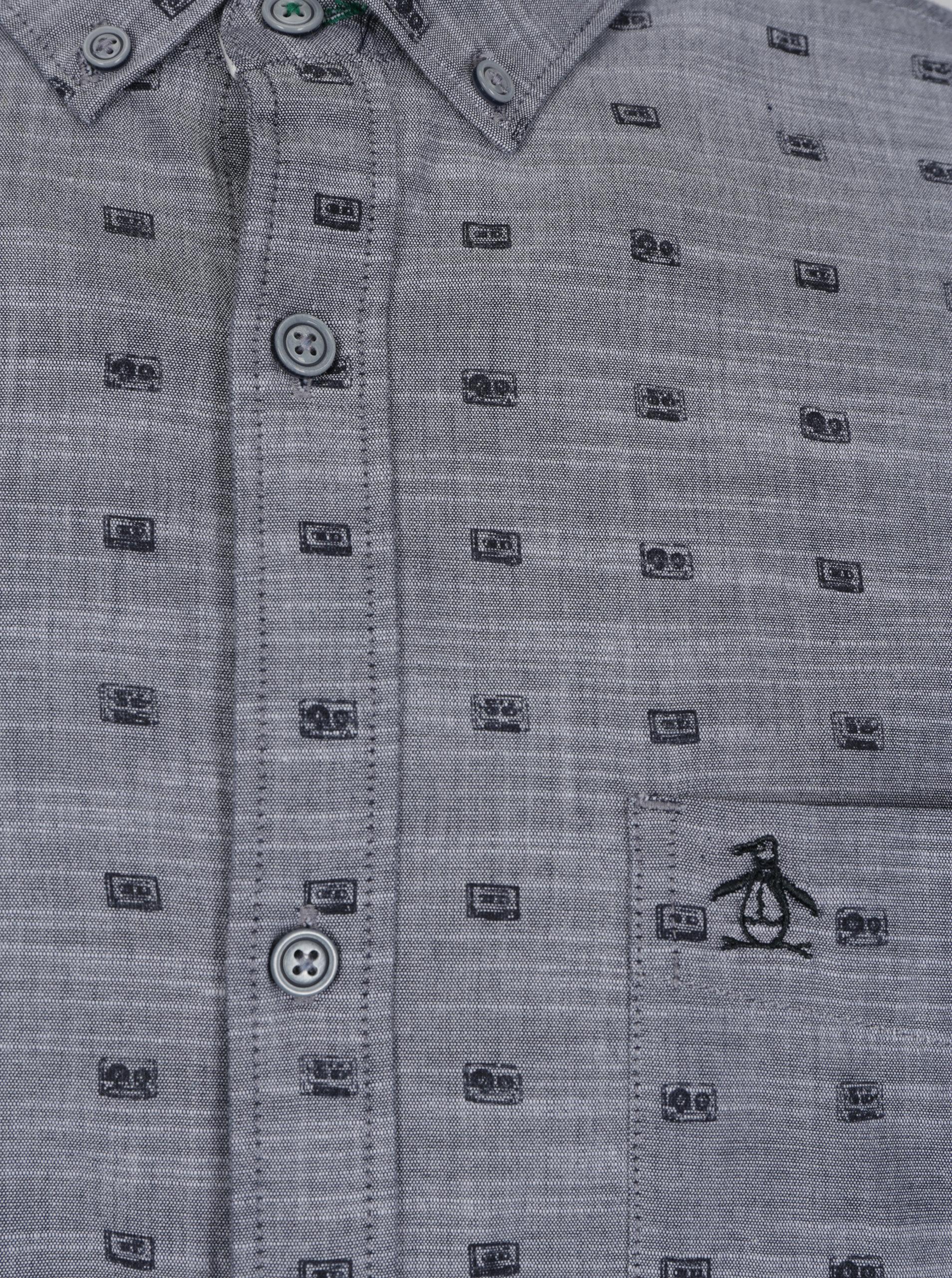 Šedá vzorovaná košile s náprsní kapsou Original Penguin Cassette ... 0c892d2ea3