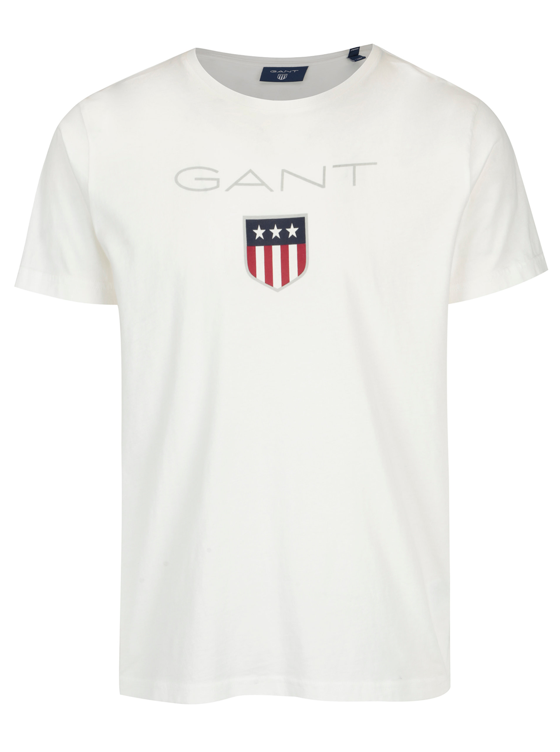 d0e322399b92 Biele pánske tričko s krátkym rukávom a potlačou loga GANT ...