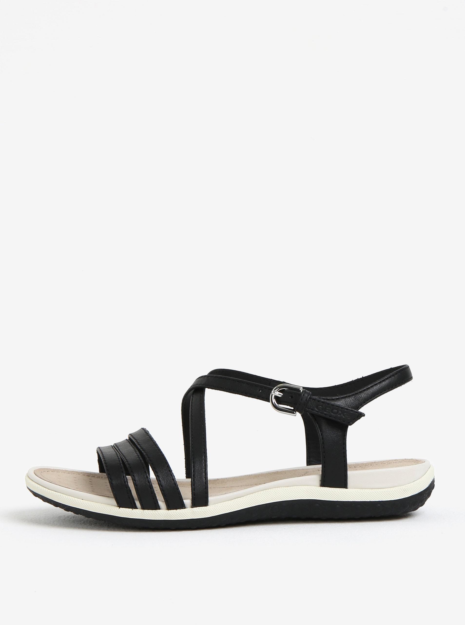 bf6da26fadf2 Čierne dámske kožené sandále Geox Sand.Vega