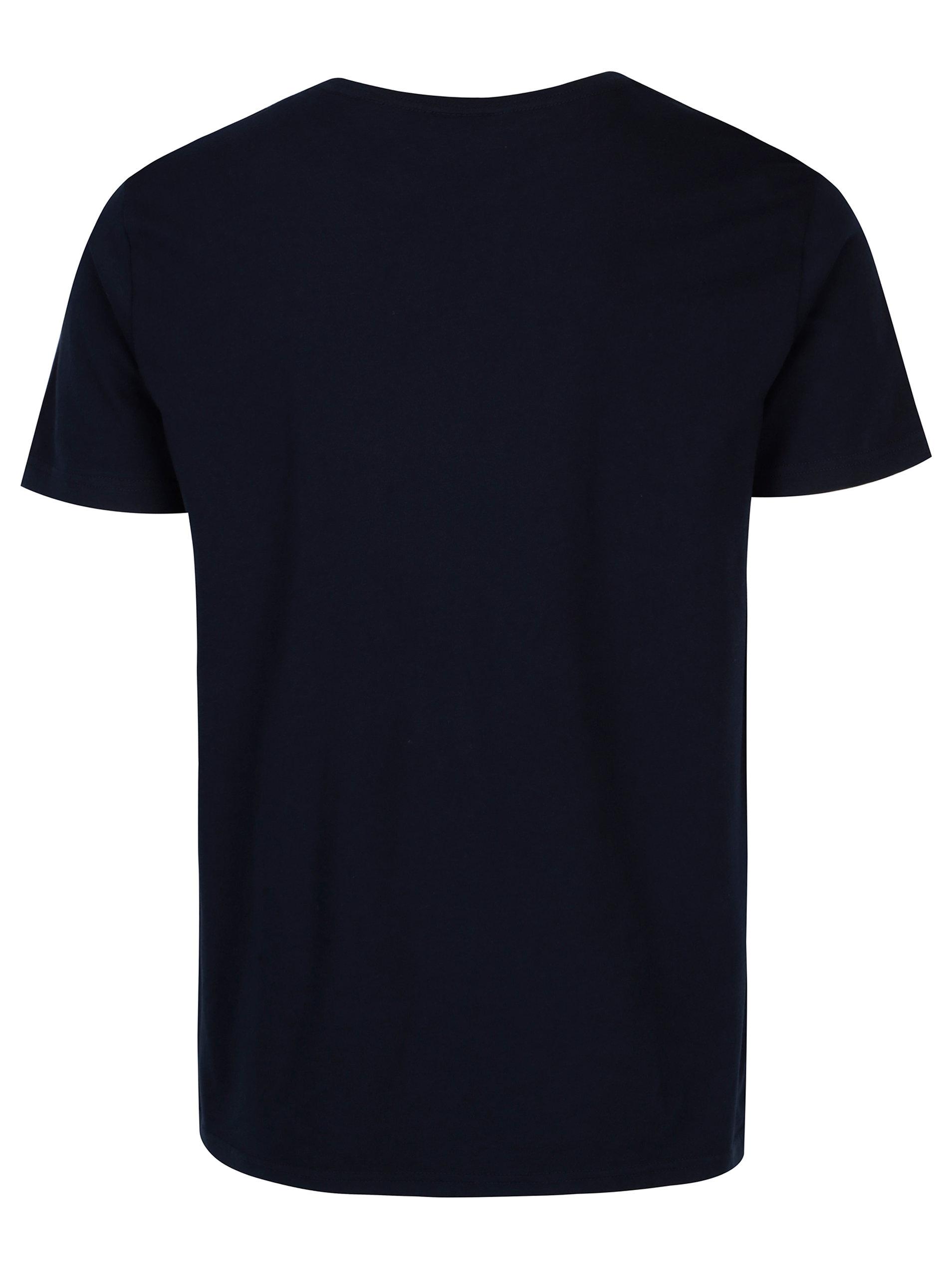 8d248d04bc24 Tmavomodré pánske tričko s krátkym rukávom a potlačou loga GANT ...