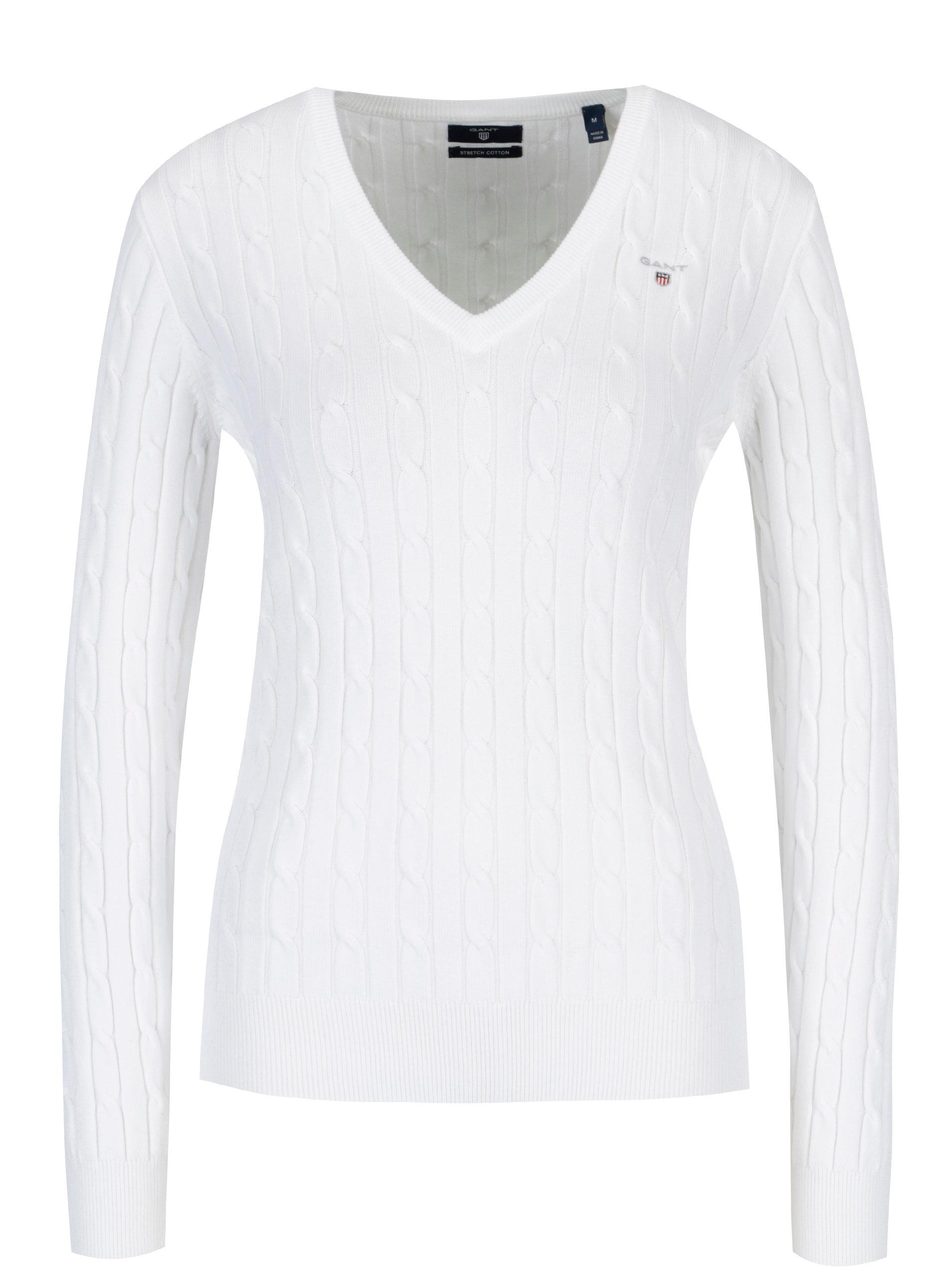 Bílý dámský pletený svetr s véčkovým výstřihem GANT ... e0b08a0051