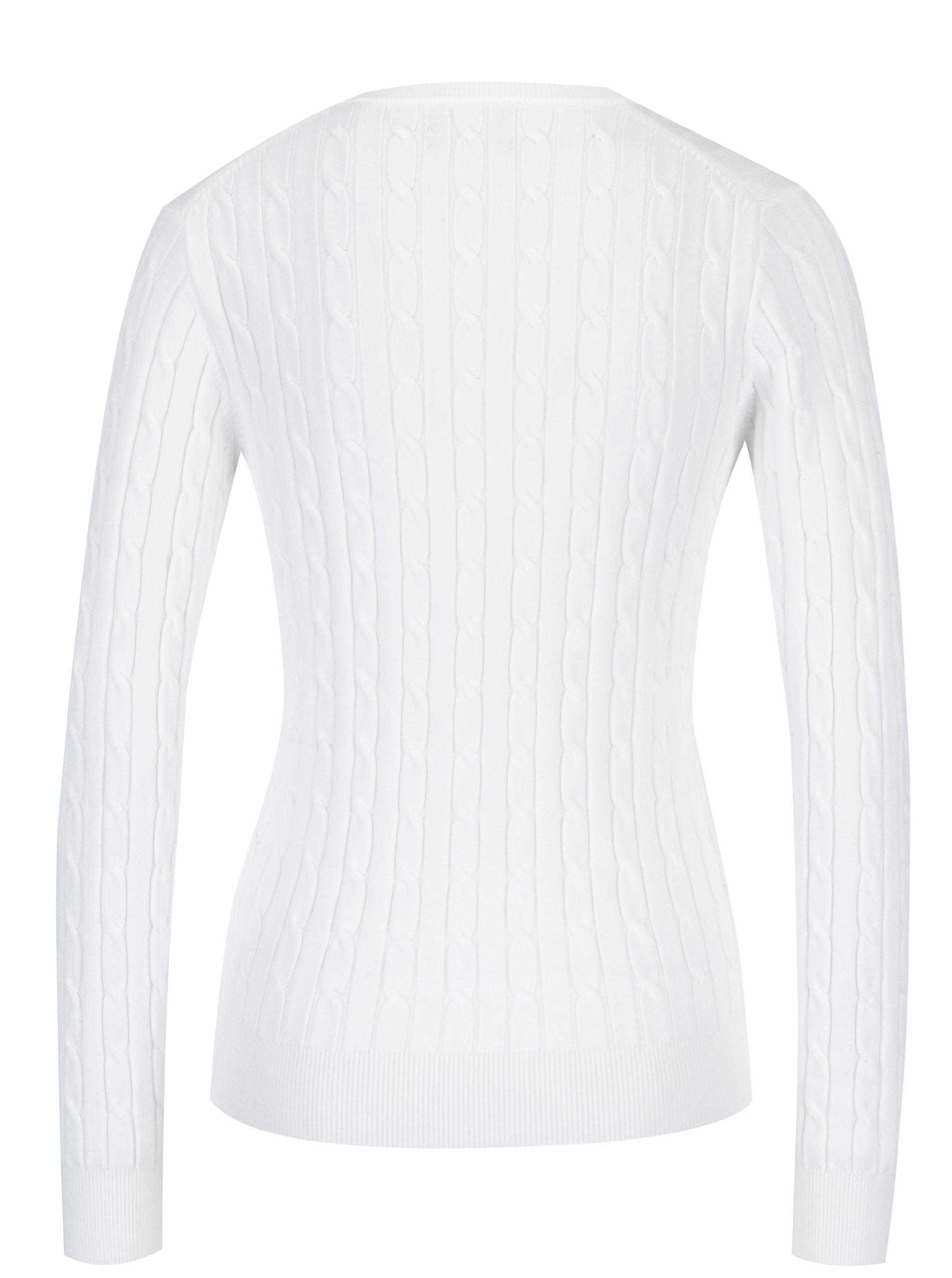 a16c56b3732 Bílý dámský pletený svetr s véčkovým výstřihem GANT ...