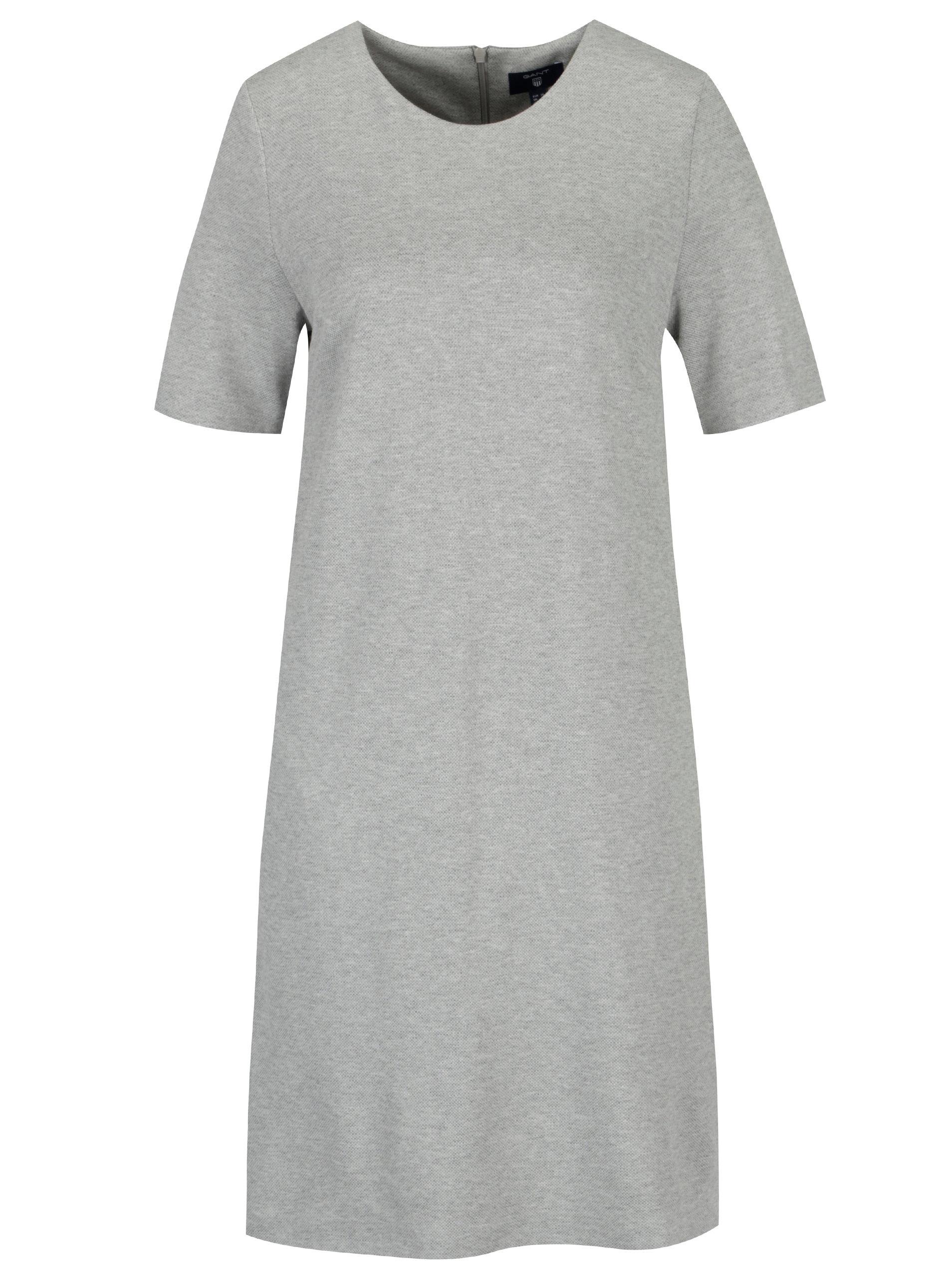 ae142027f1dd Svetlosivé melírované šaty s krátkym rukávom GANT ...