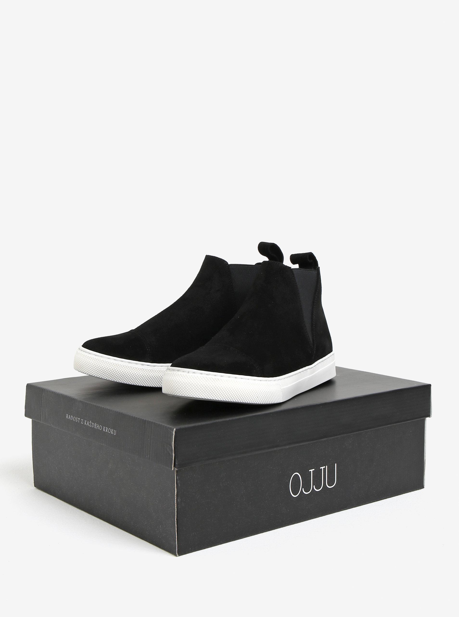 Černé semišové chelsea boty na platformě OJJU ... 03fa797f0d