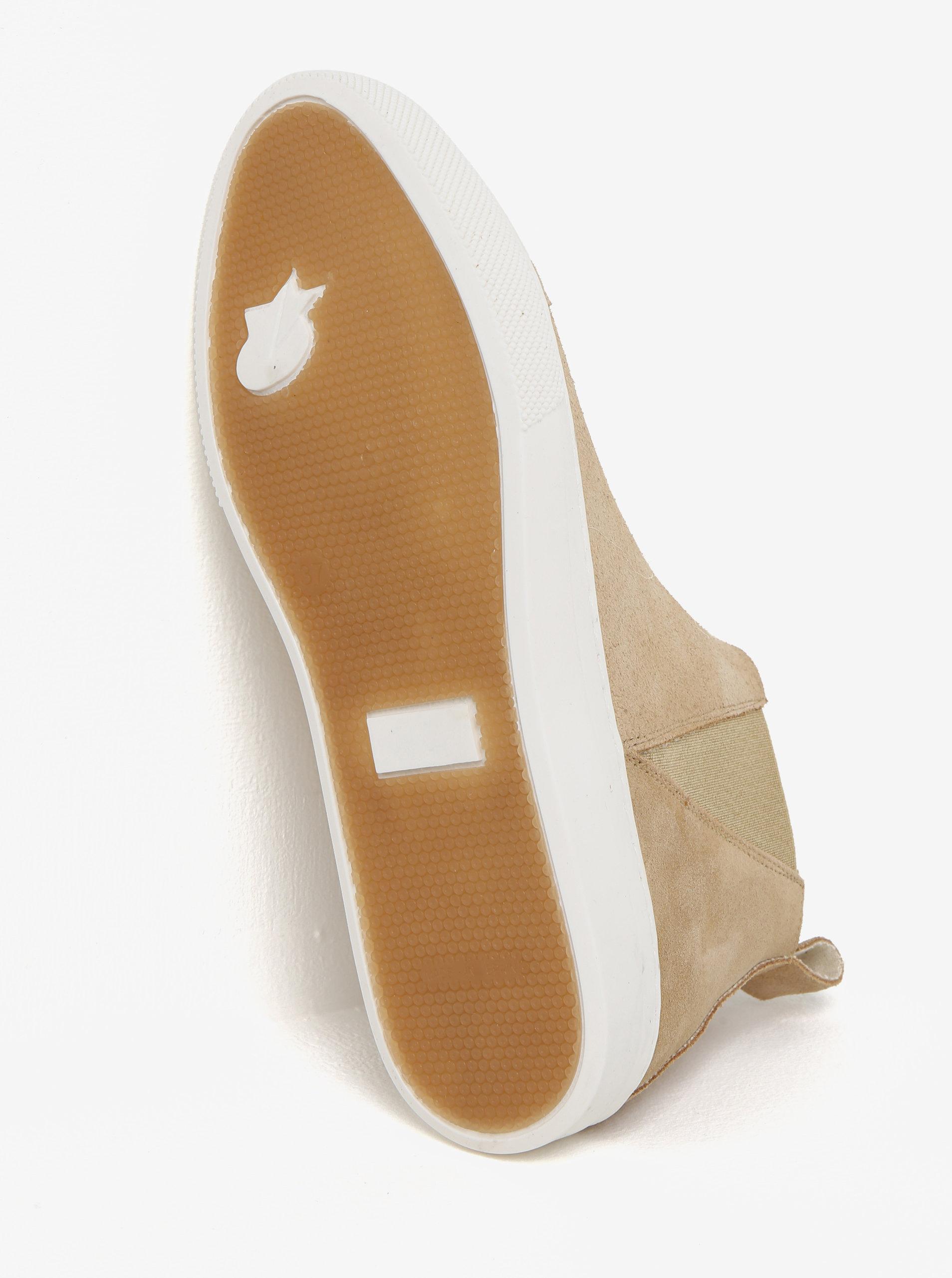 Béžové semišové chelsea boty na platformě OJJU ... cbd07acf01