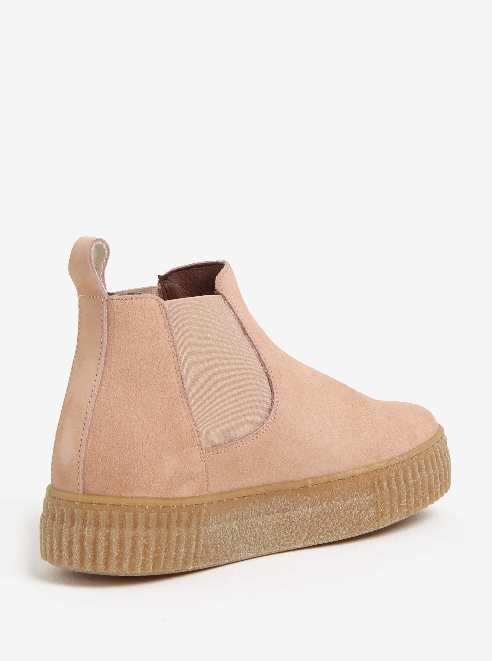 Růžové semišové chelsea boty na platformě OJJU ... 8b64f47522