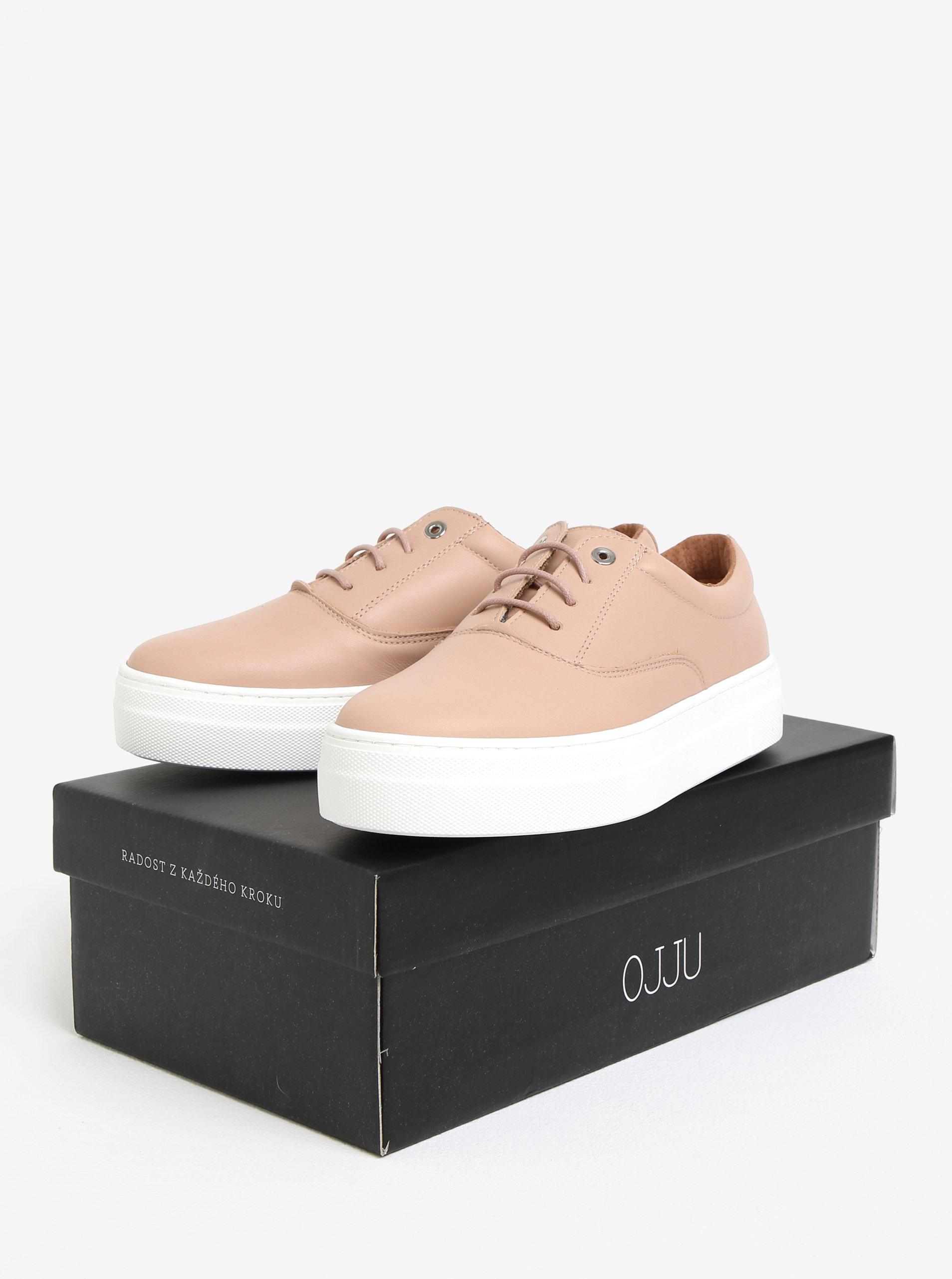 90b05754a8156 Ružové kožené tenisky na platforme OJJU QUIOS   ZOOT.sk