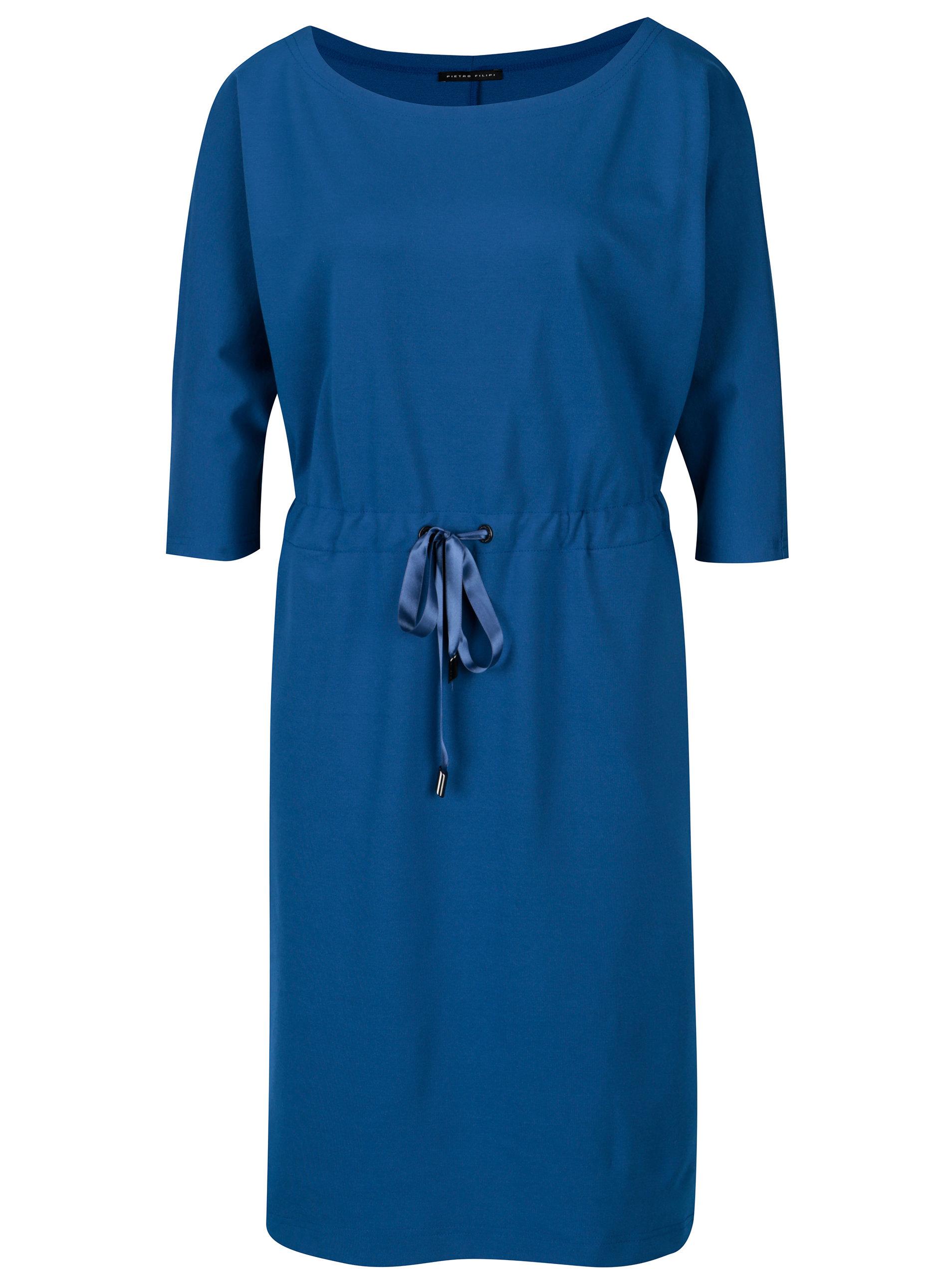 dc2032dc94ae Modré dámské šaty s 3 4 rukávem Pietro Filipi ...