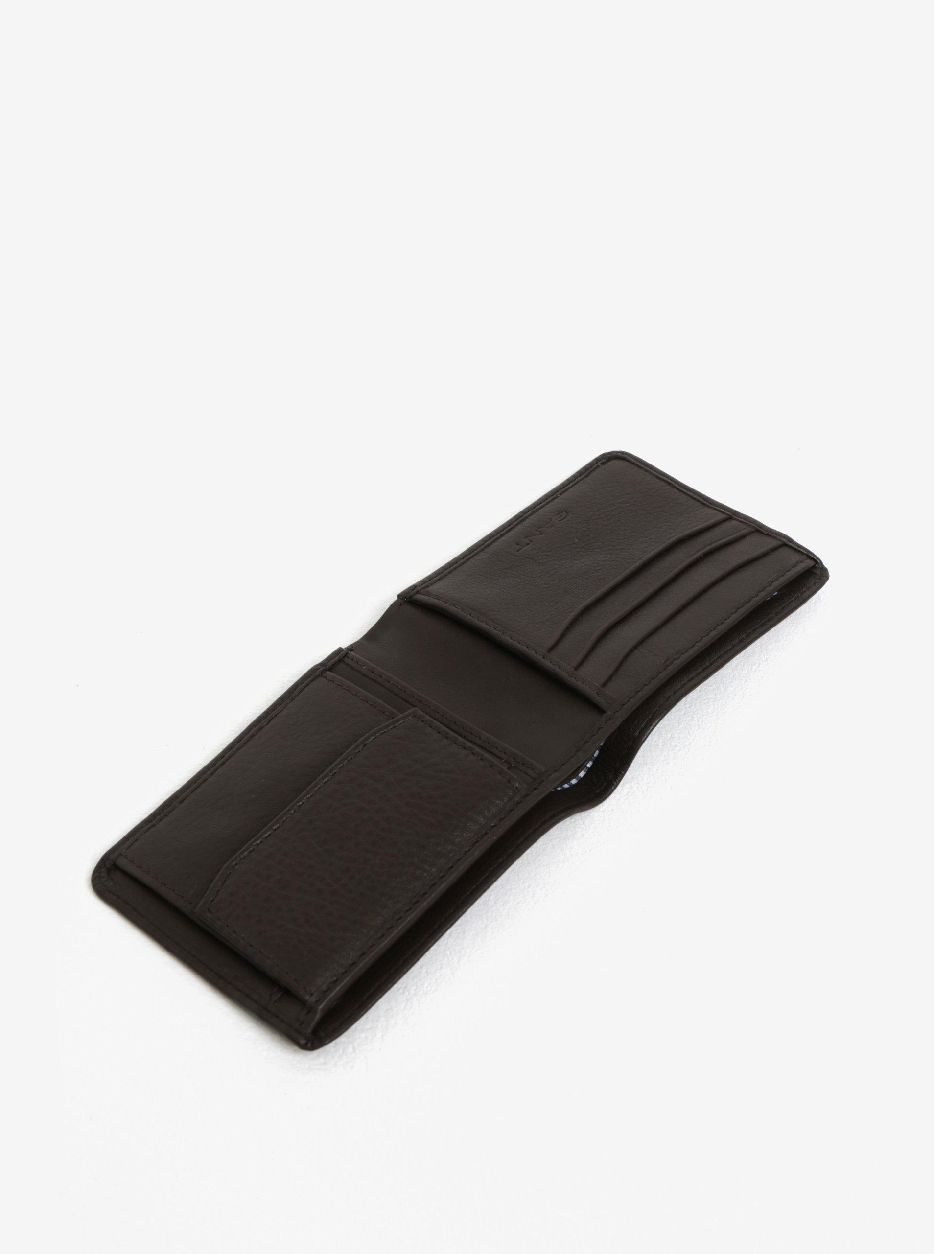 7931b10472 Tmavohnedá pánska kožená peňaženka GANT ...